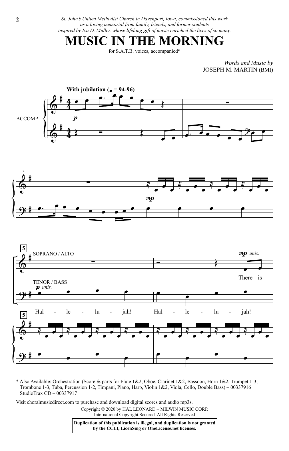 Music In The Morning Sheet Music
