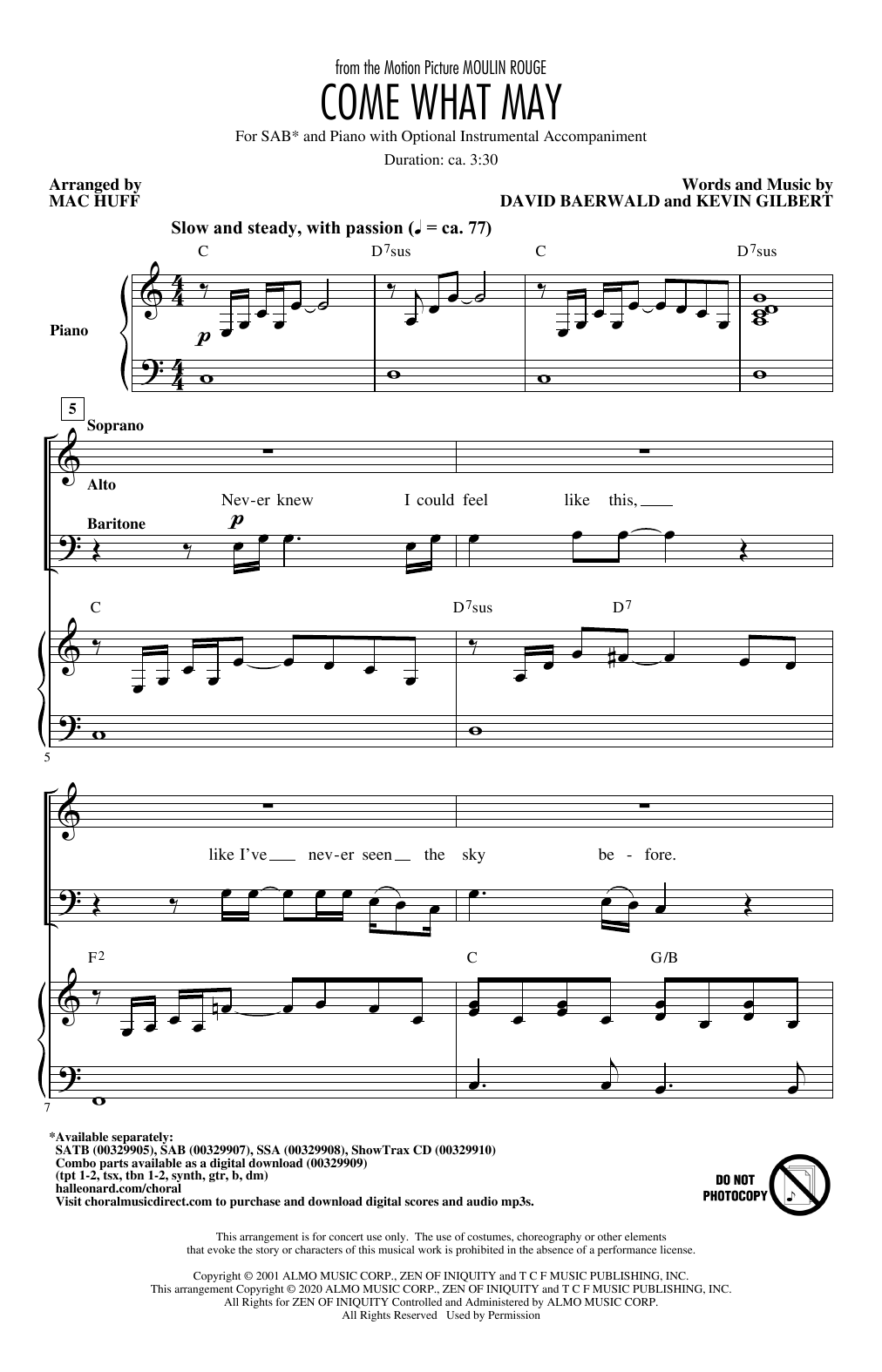 Come What May (from Moulin Rouge) (arr. Mac Huff) (SAB Choir)