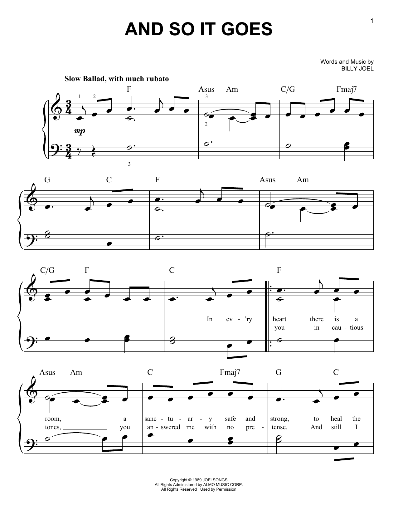 And So It Goes (Very Easy Piano)