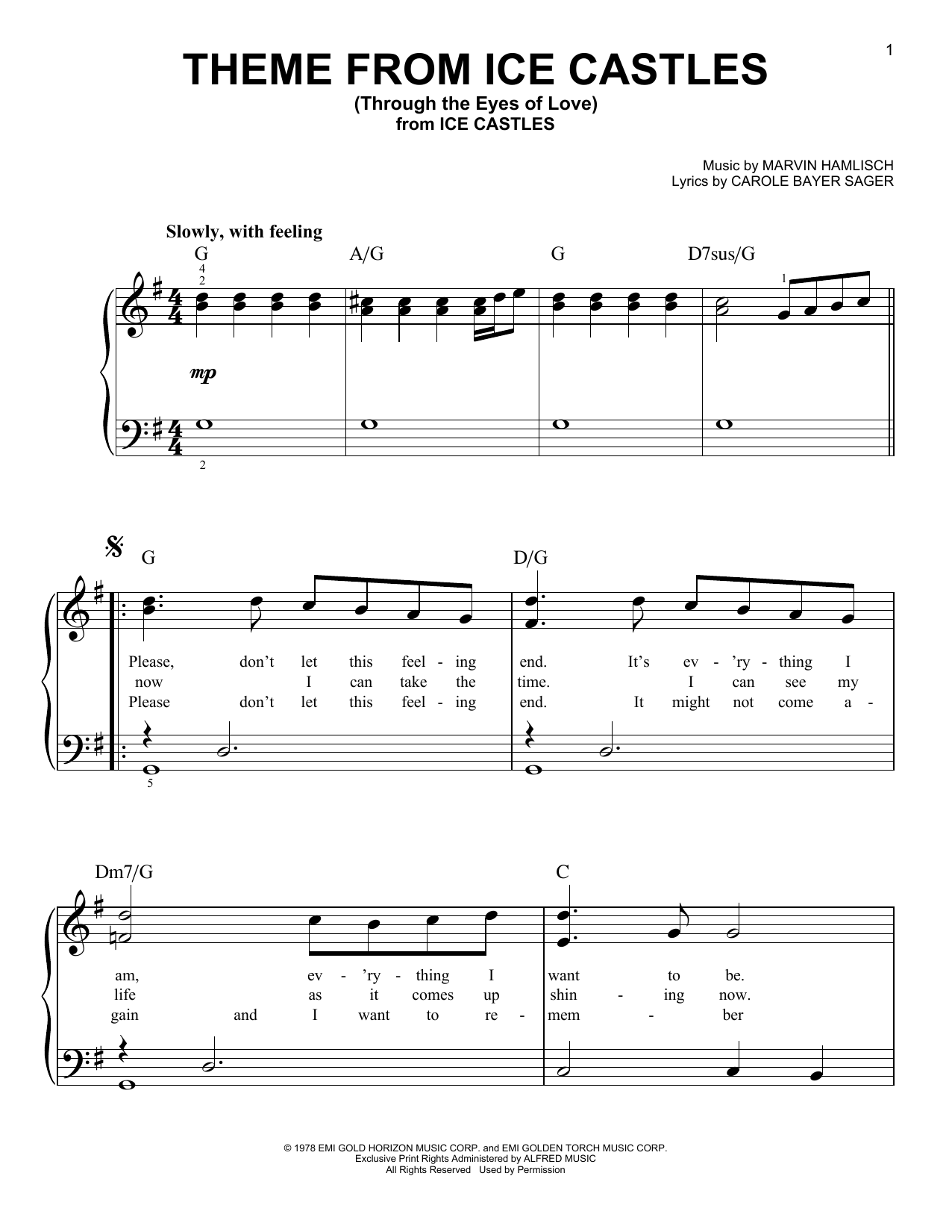 Theme From Ice Castles (Through The Eyes Of Love) (Very Easy Piano)