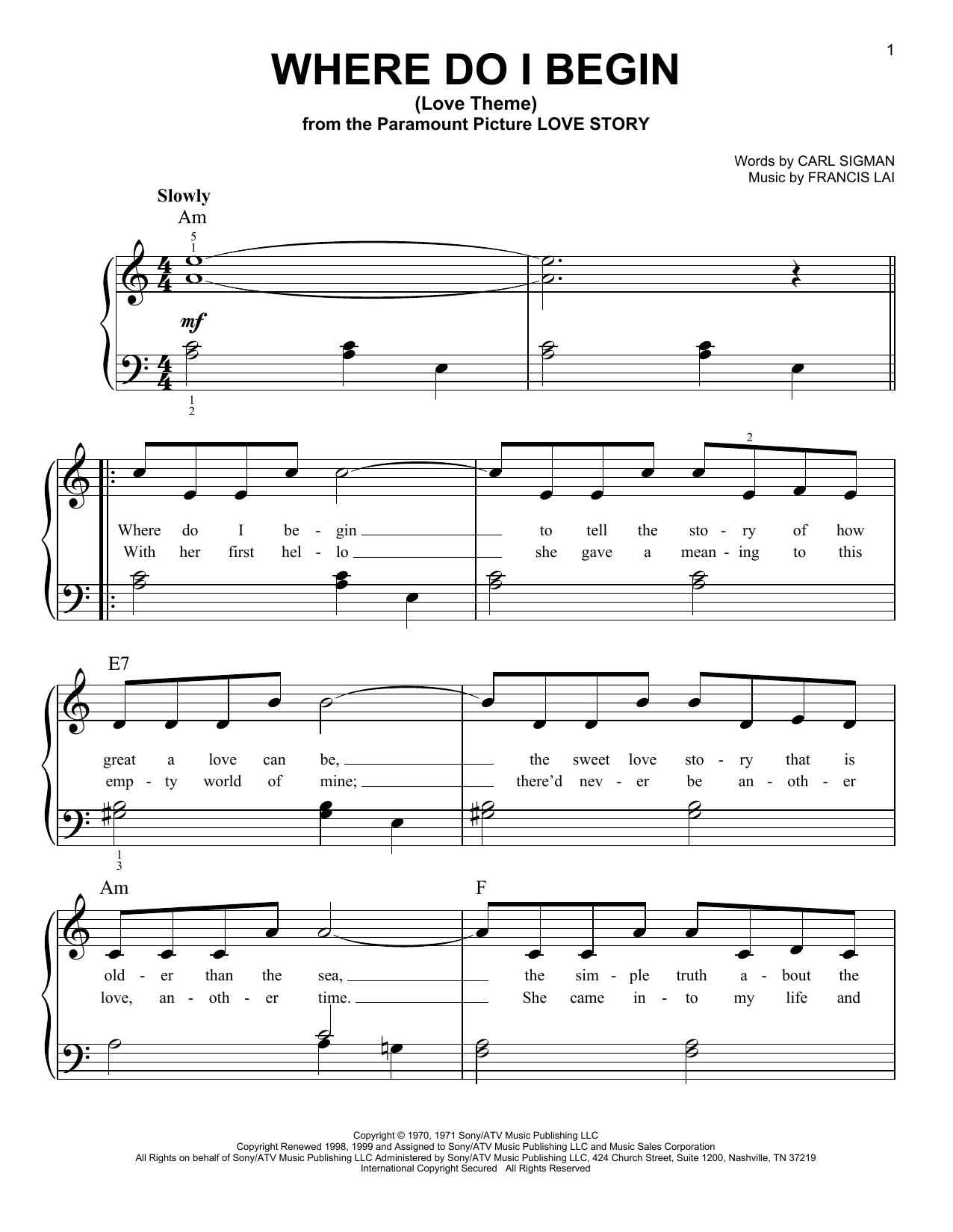 Where Do I Begin (Love Theme) (Very Easy Piano)