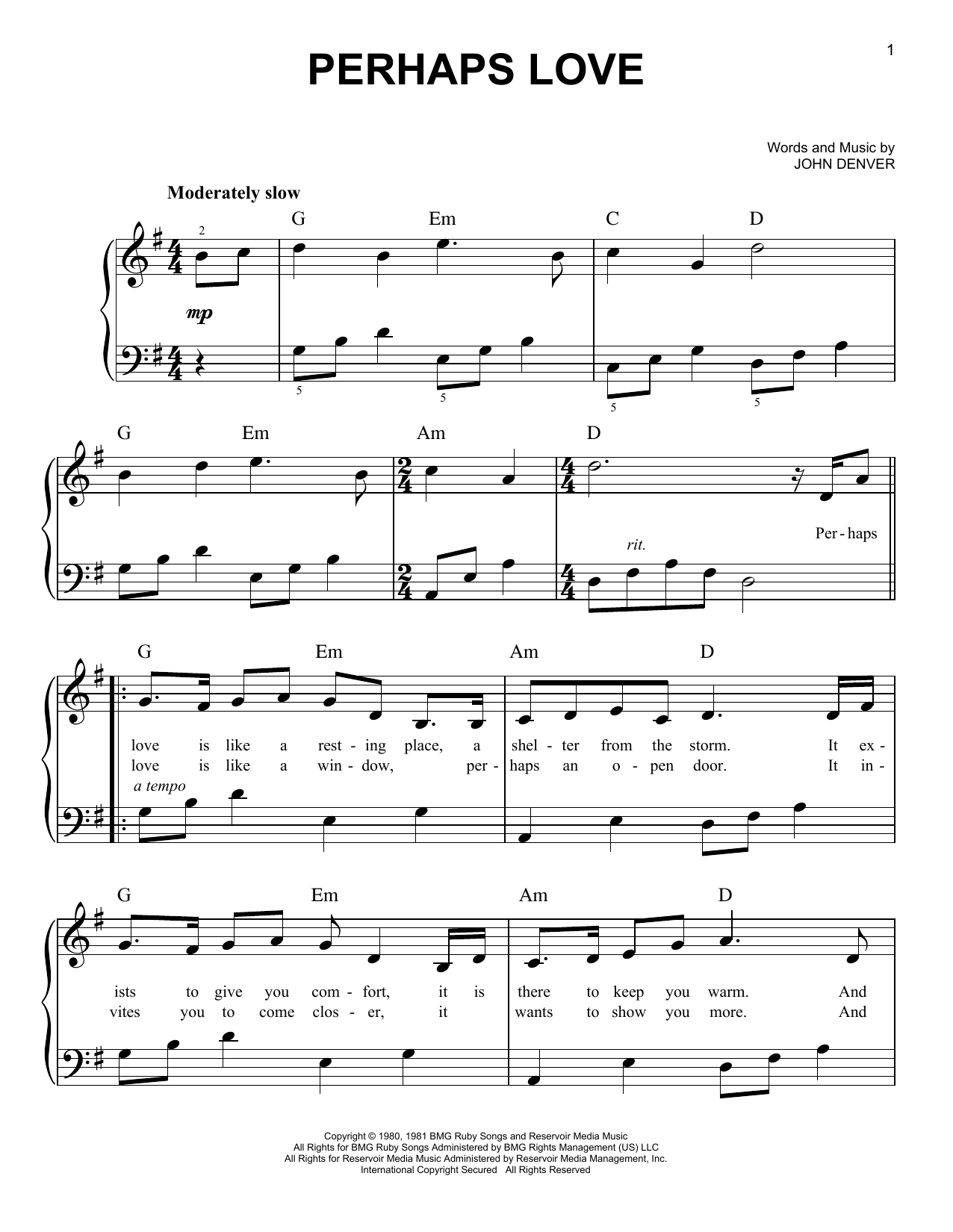Perhaps Love (Very Easy Piano)