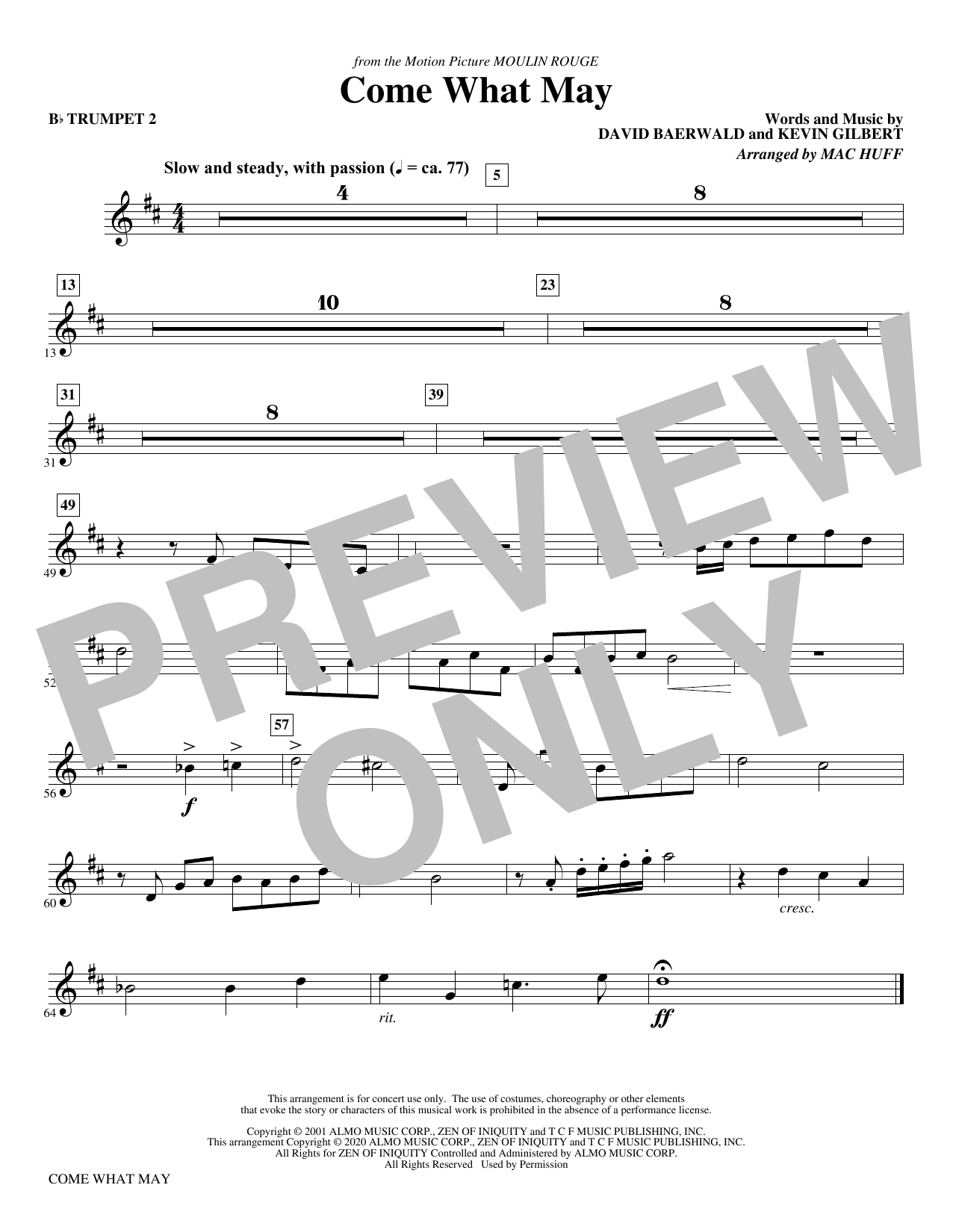 Come What May (from Moulin Rouge) (arr. Mac Huff) - Bb Trumpet 2 Sheet Music