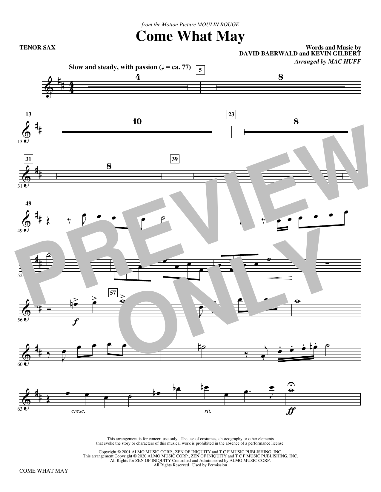 Come What May (from Moulin Rouge) (arr. Mac Huff) - Bb Tenor Saxophone Sheet Music