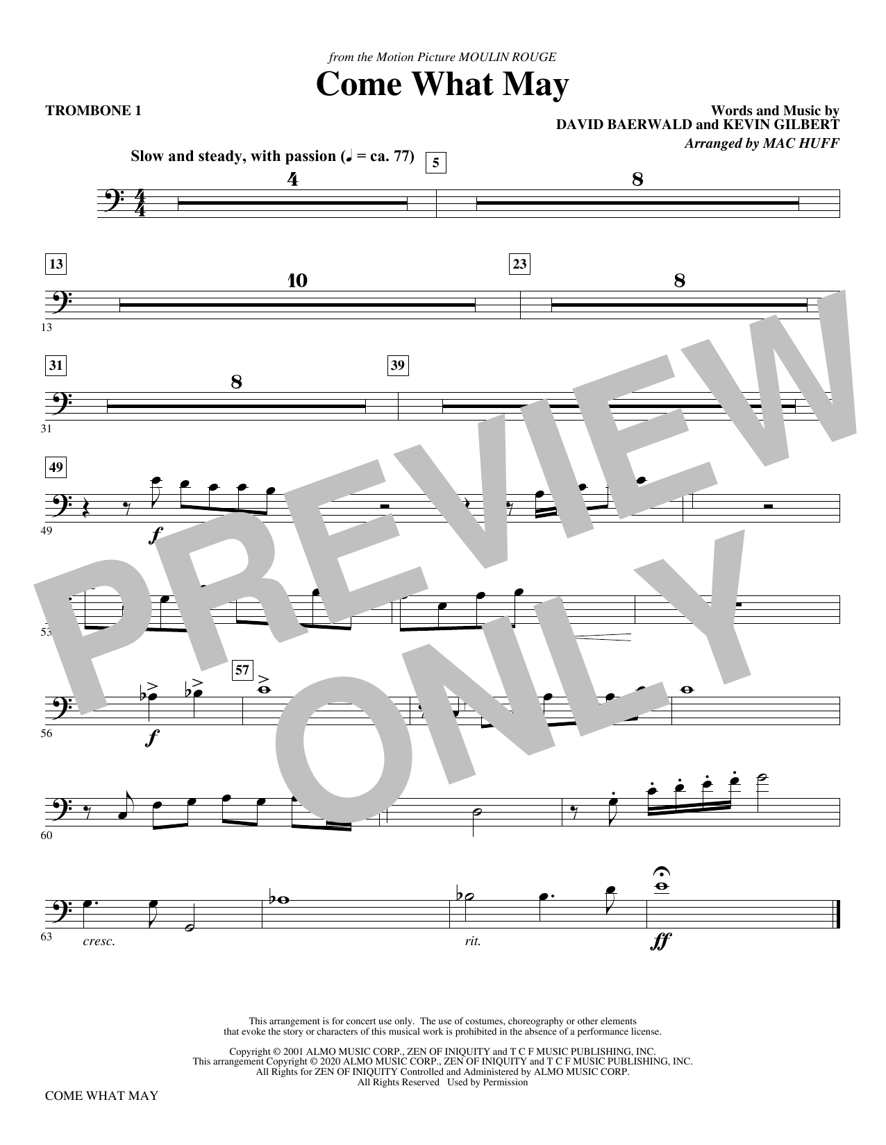 Come What May (from Moulin Rouge) (arr. Mac Huff) - Trombone 1 Sheet Music