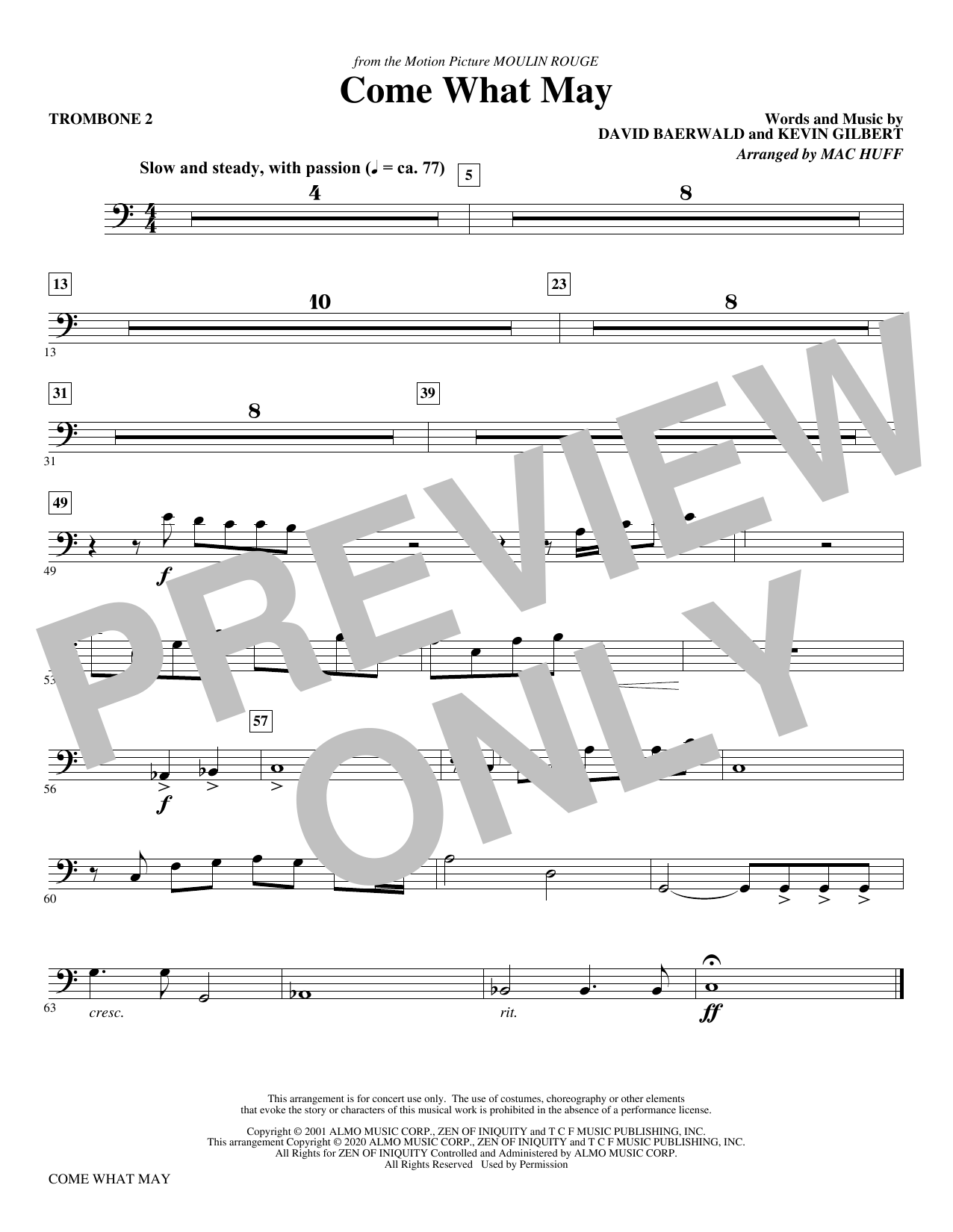 Come What May (from Moulin Rouge) (arr. Mac Huff) - Trombone 2 Sheet Music