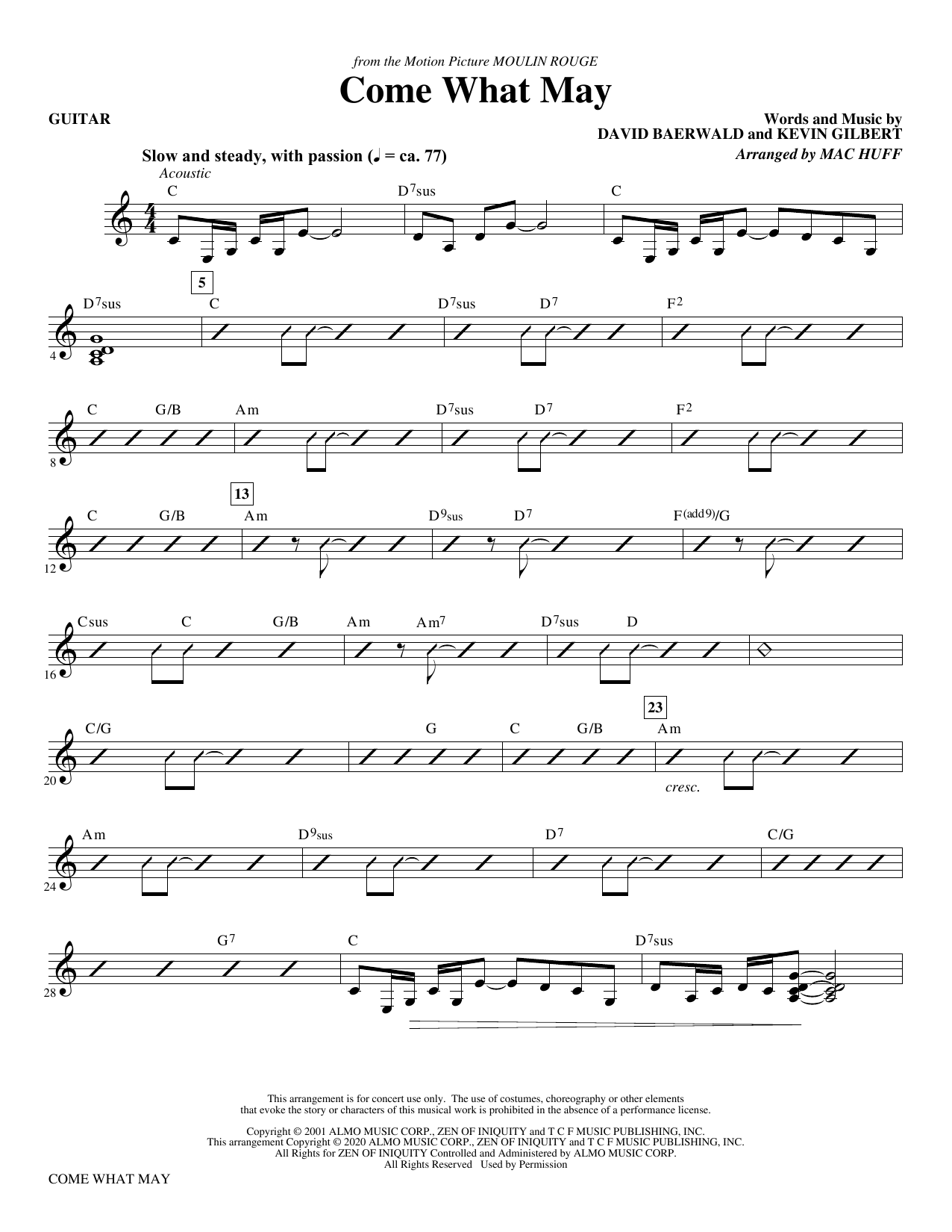 Come What May (from Moulin Rouge) (arr. Mac Huff) - Guitar Partition Digitale