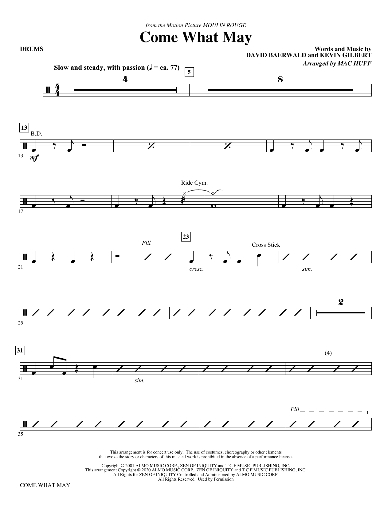 Come What May (from Moulin Rouge) (arr. Mac Huff) - Drums Sheet Music
