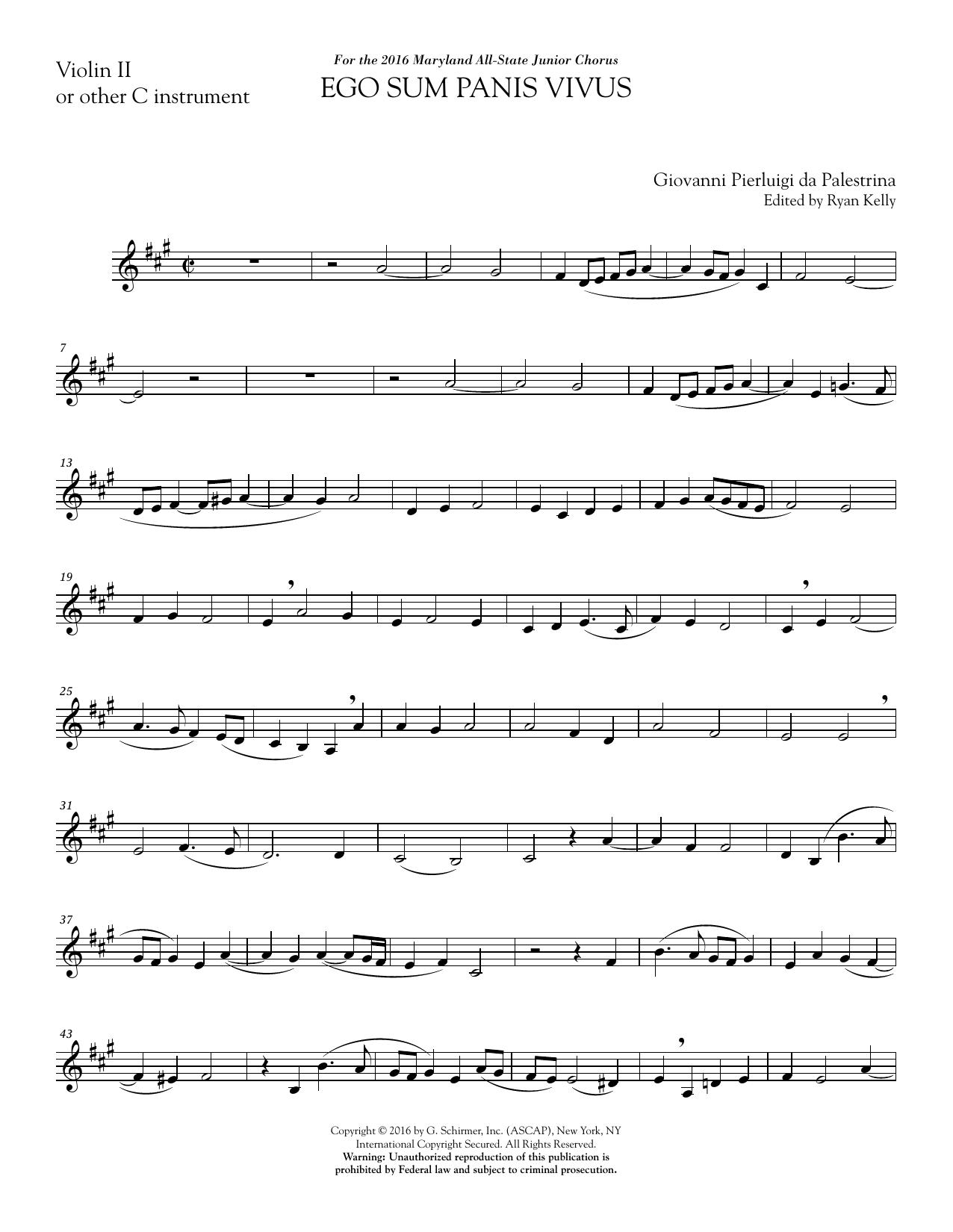 Ego sum panis vivus (ed. Ryan Kelly) - Violin 2 Sheet Music