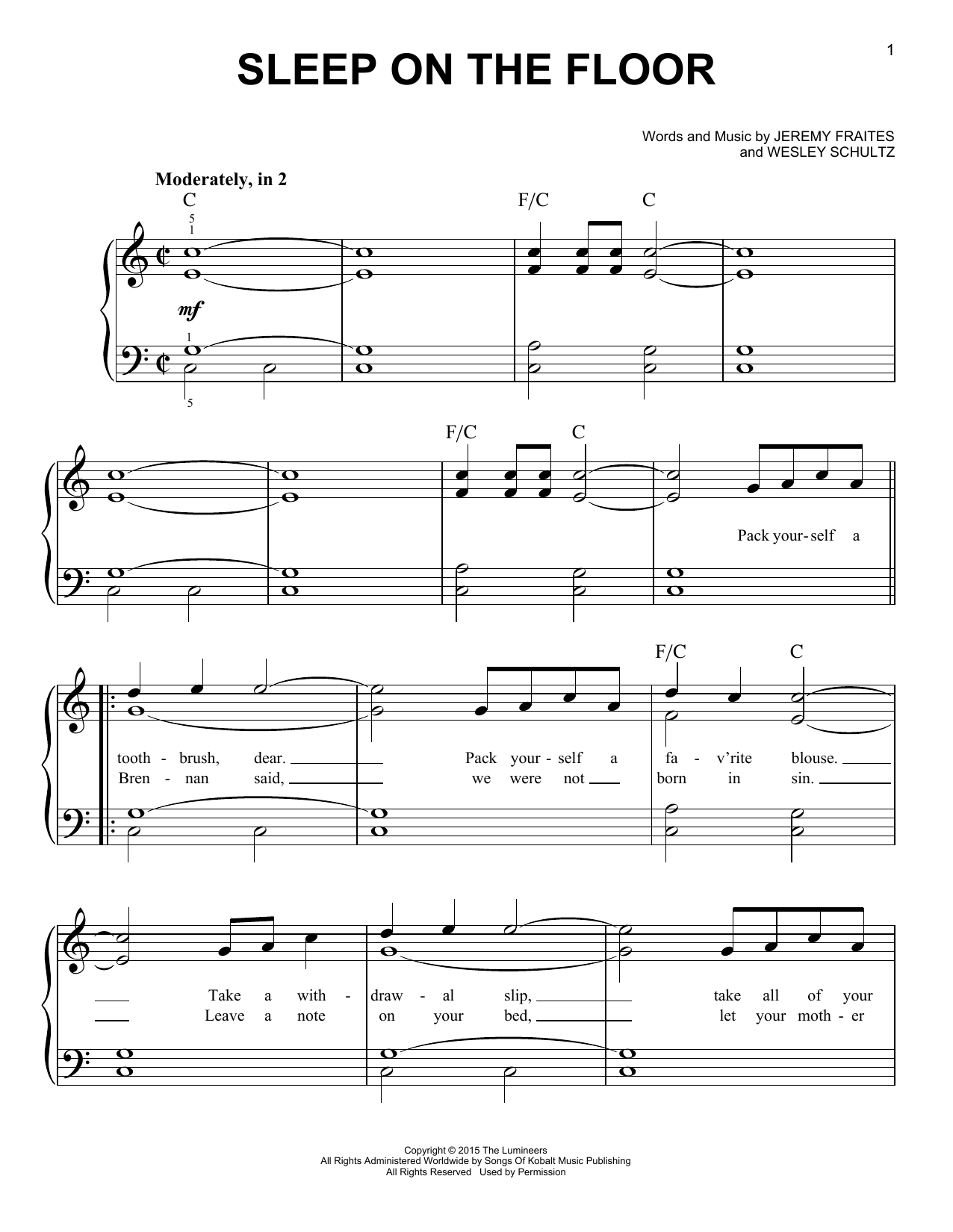 Sleep On The Floor (Easy Piano)