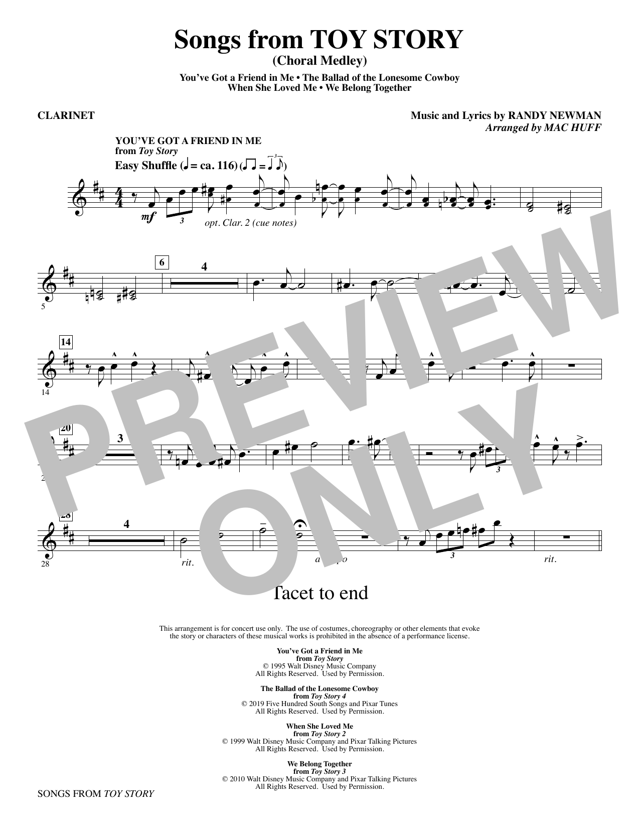 Songs from Toy Story (Choral Medley) (arr. Mac Huff) - Clarinet Sheet Music