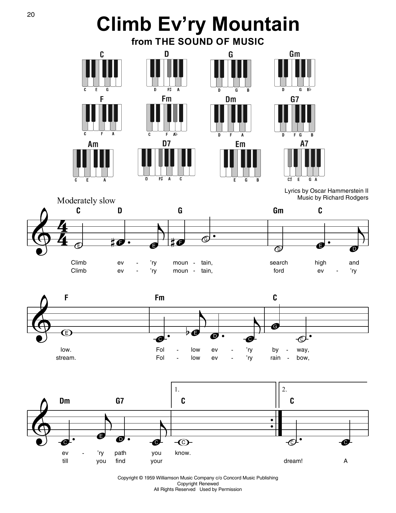 Climb Ev'ry Mountain (from The Sound Of Music) (Super Easy Piano)