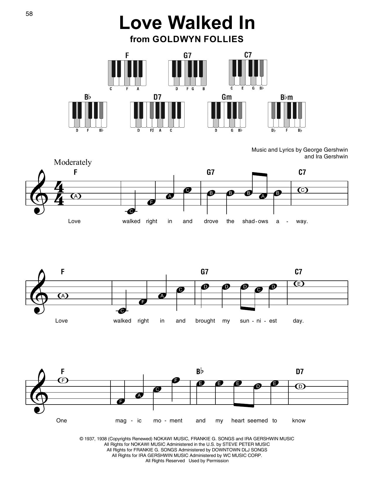 Love Walked In (from Goldwyn Follies) (Super Easy Piano)