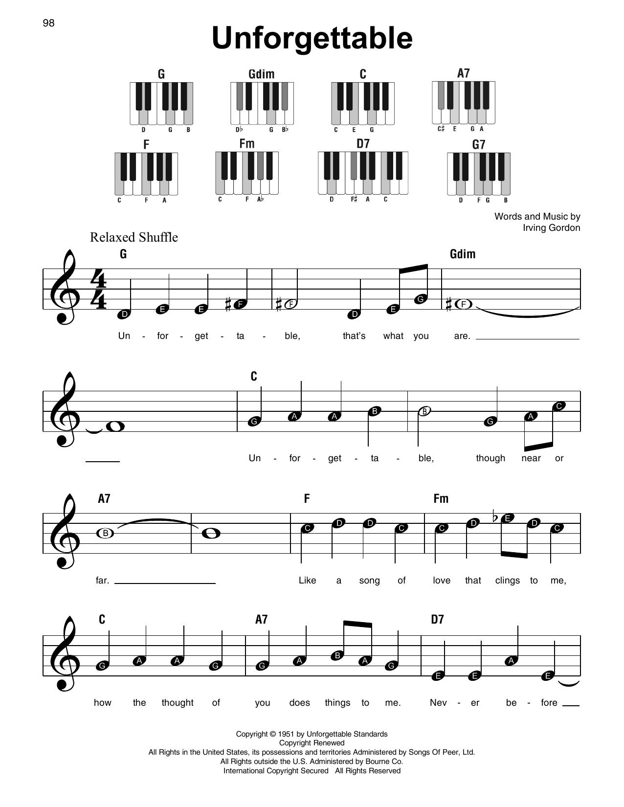 Unforgettable Sheet Music