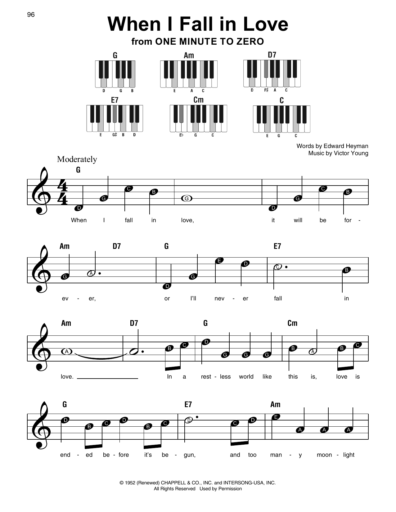 When I Fall In Love (from One Minute To Zero) Sheet Music