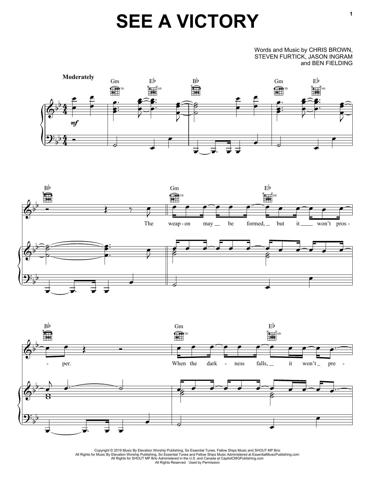 See A Victory (Piano, Vocal & Guitar (Right-Hand Melody))