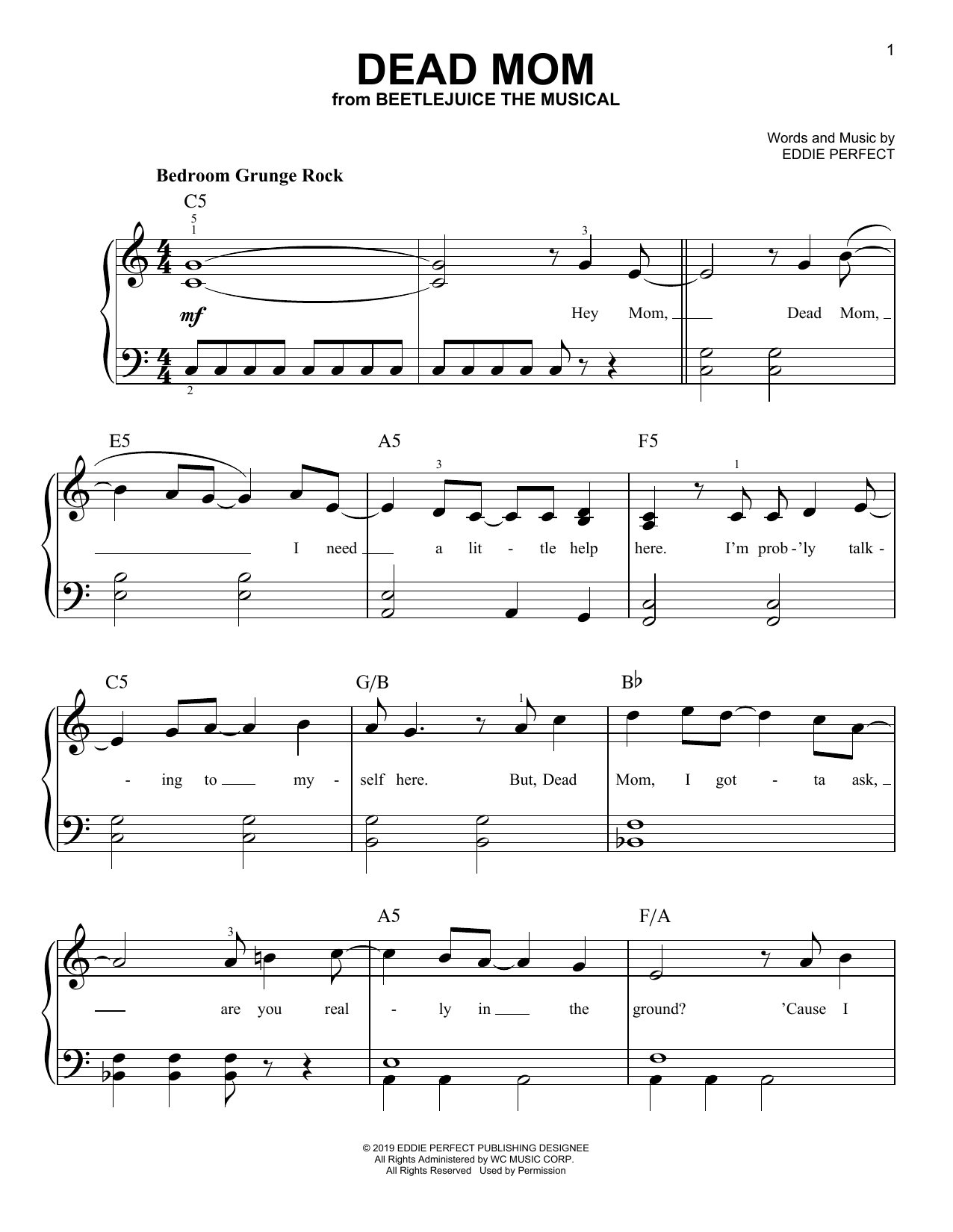 Dead Mom (from Beetlejuice The Musical) (Easy Piano)