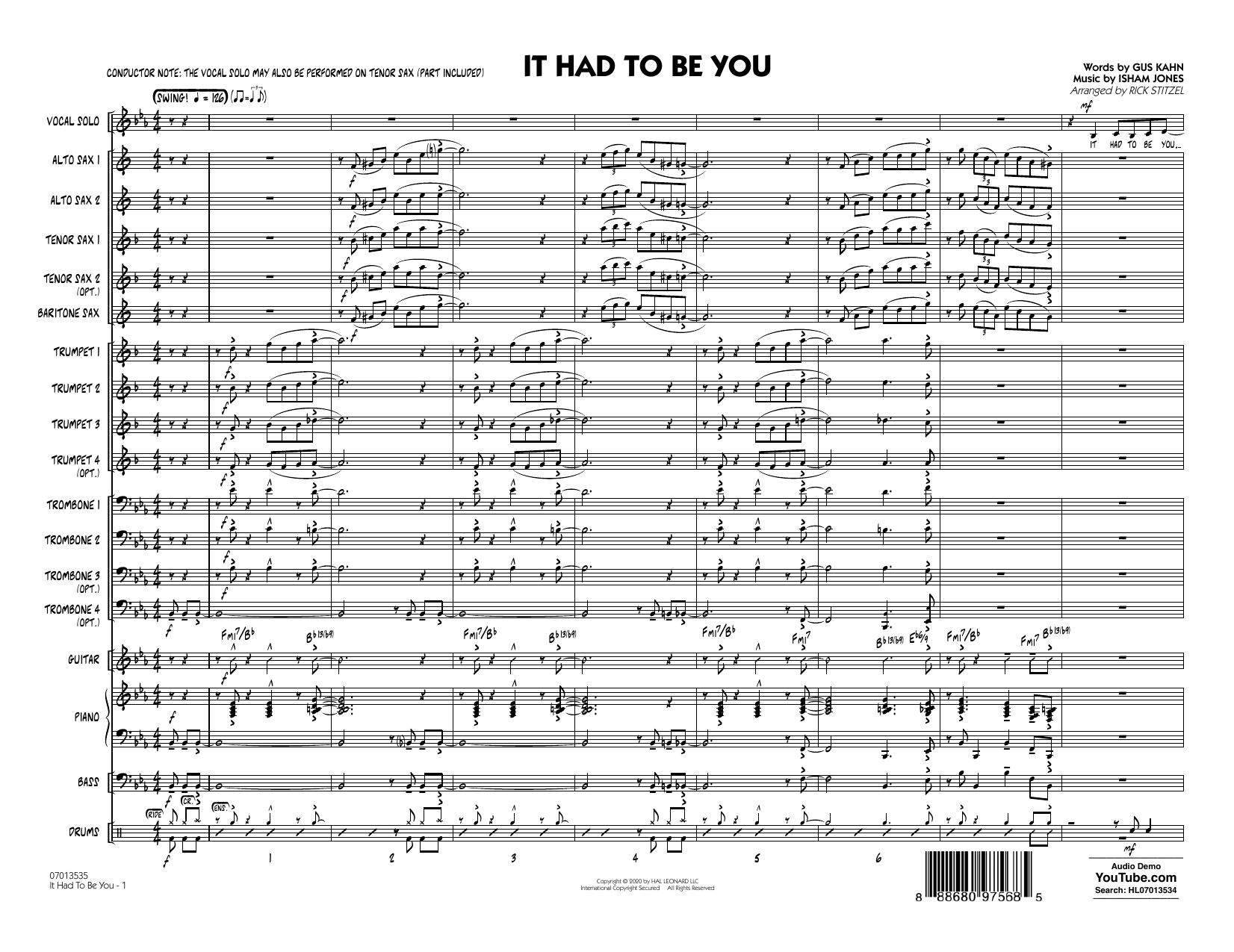 It Had to Be You (arr. Rick Stitzel) - Conductor Score (Full Score) Sheet Music