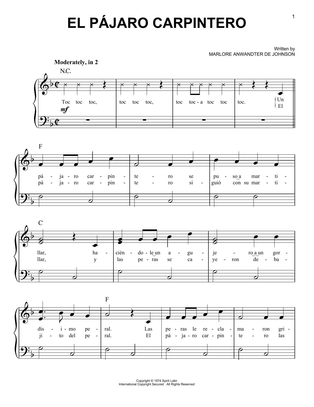 El Pajaro Carpintero (Easy Piano)