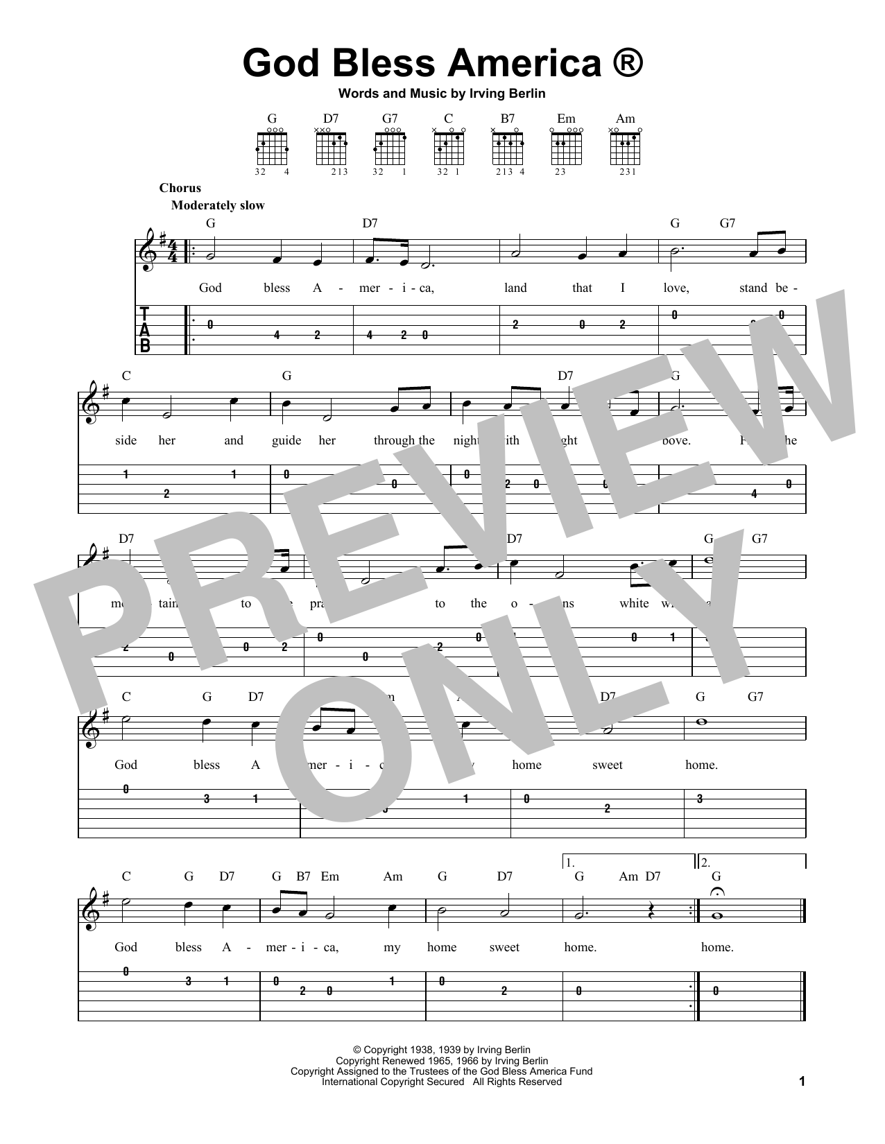 God Bless America (Easy Guitar Tab)