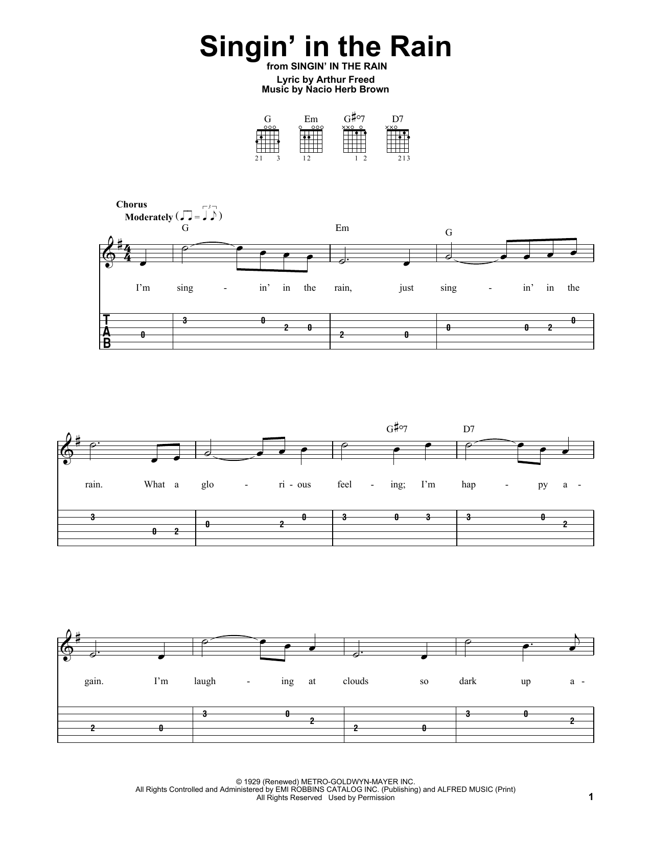 Singin' In The Rain (Easy Guitar Tab)