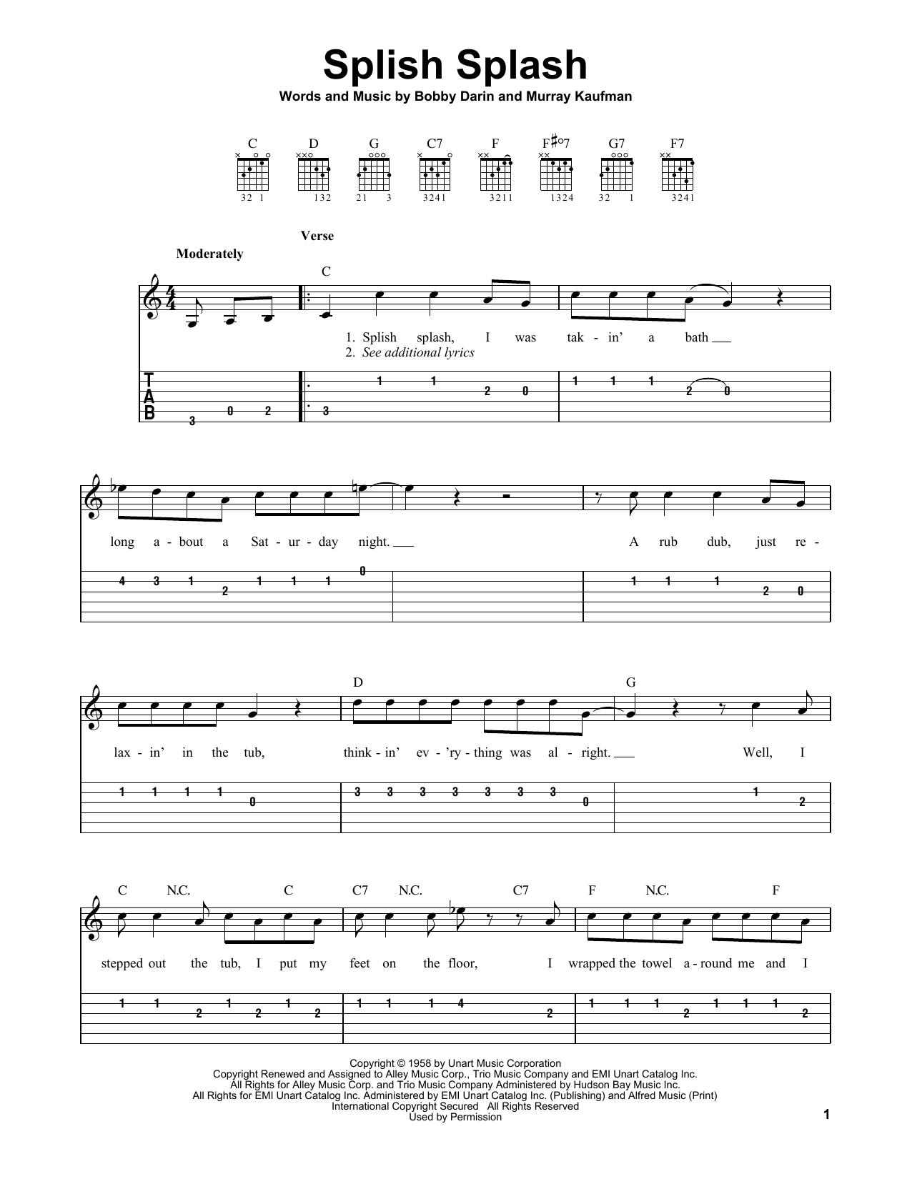 Splish Splash (Easy Guitar Tab)