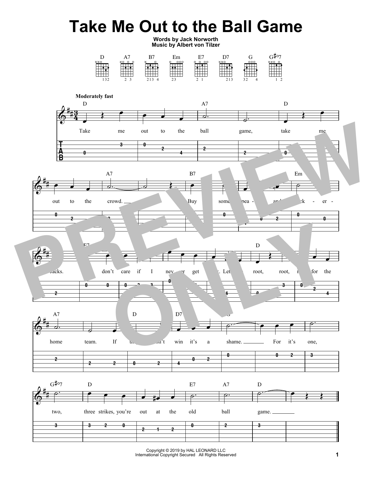 Take Me Out To The Ball Game (Easy Guitar Tab)