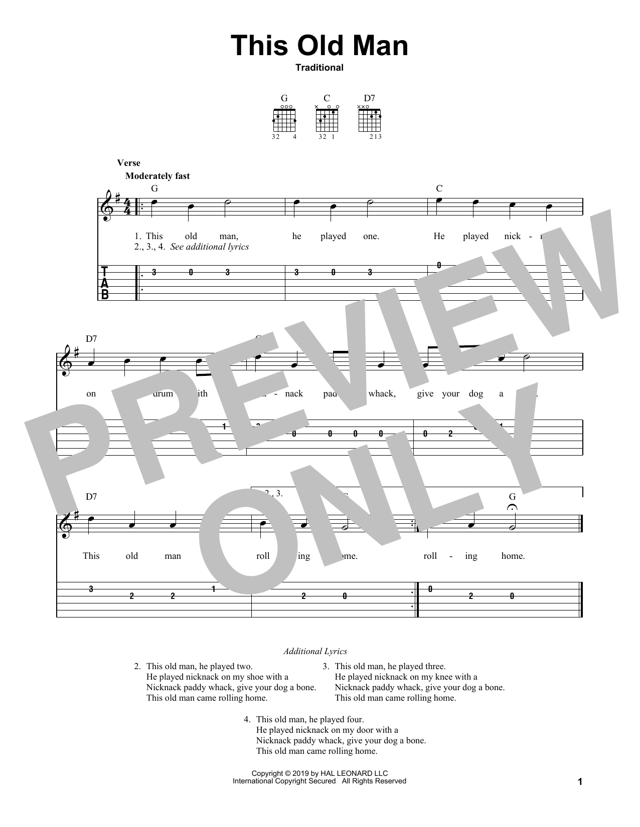 This Old Man (Easy Guitar Tab)