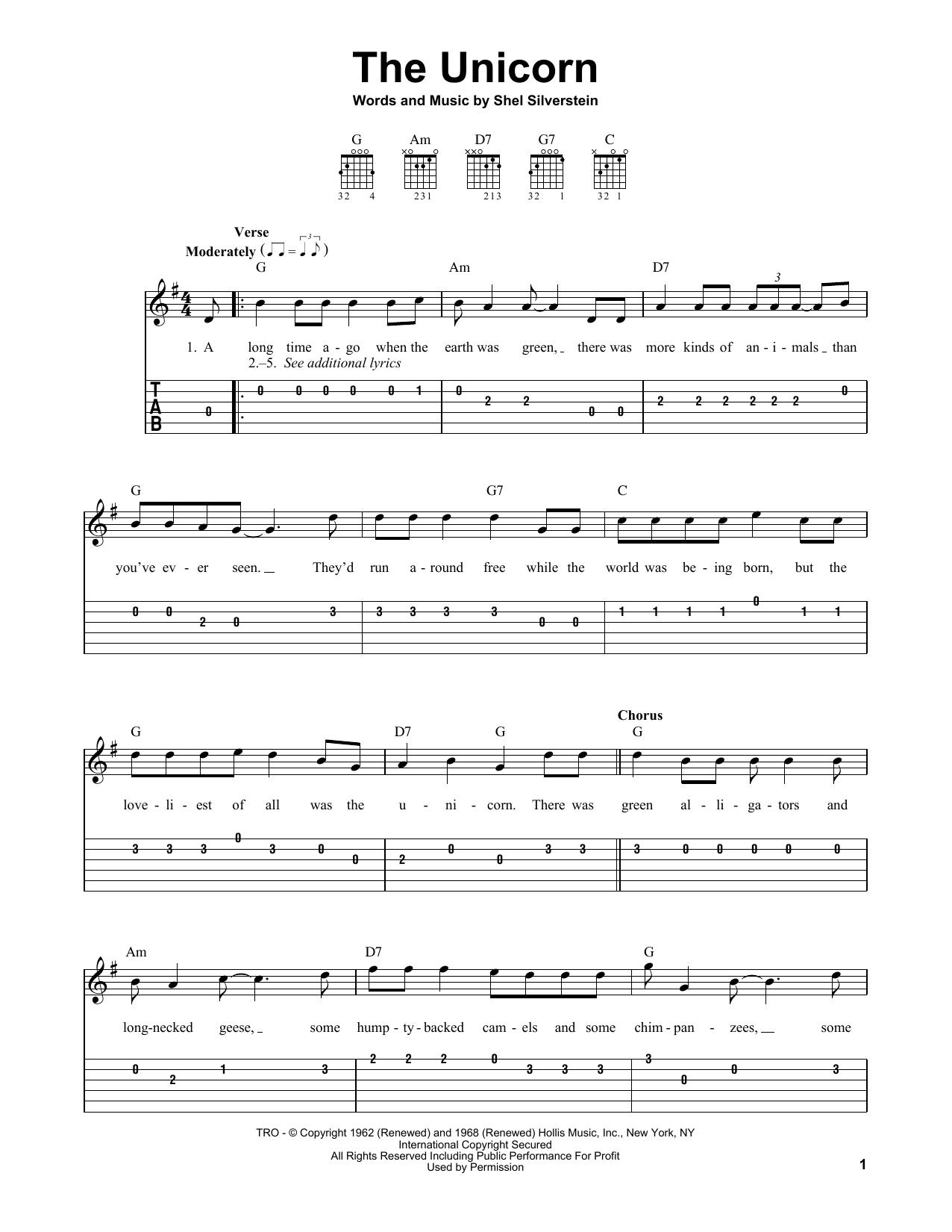 The Unicorn (Easy Guitar Tab)