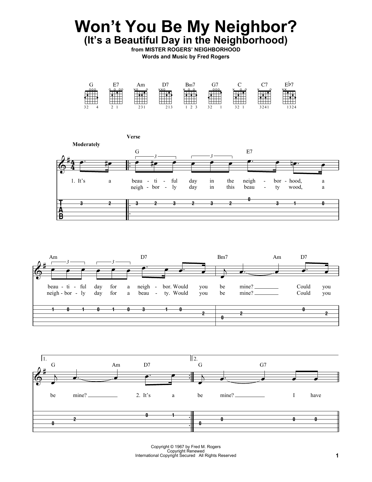 Won't You Be My Neighbor? (It's A Beautiful Day In The Neighborhood) (Easy Guitar Tab)