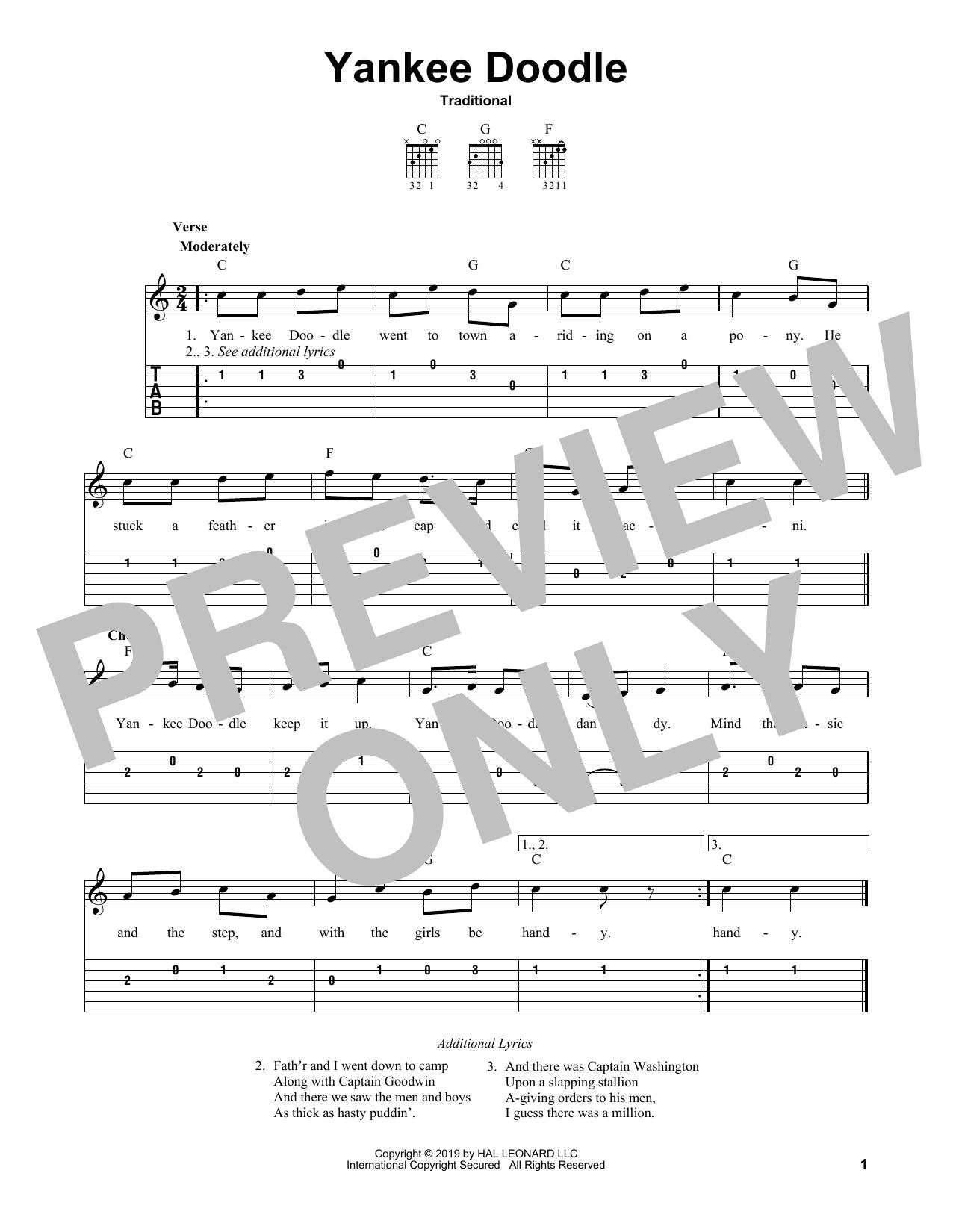 Yankee Doodle (Easy Guitar Tab)