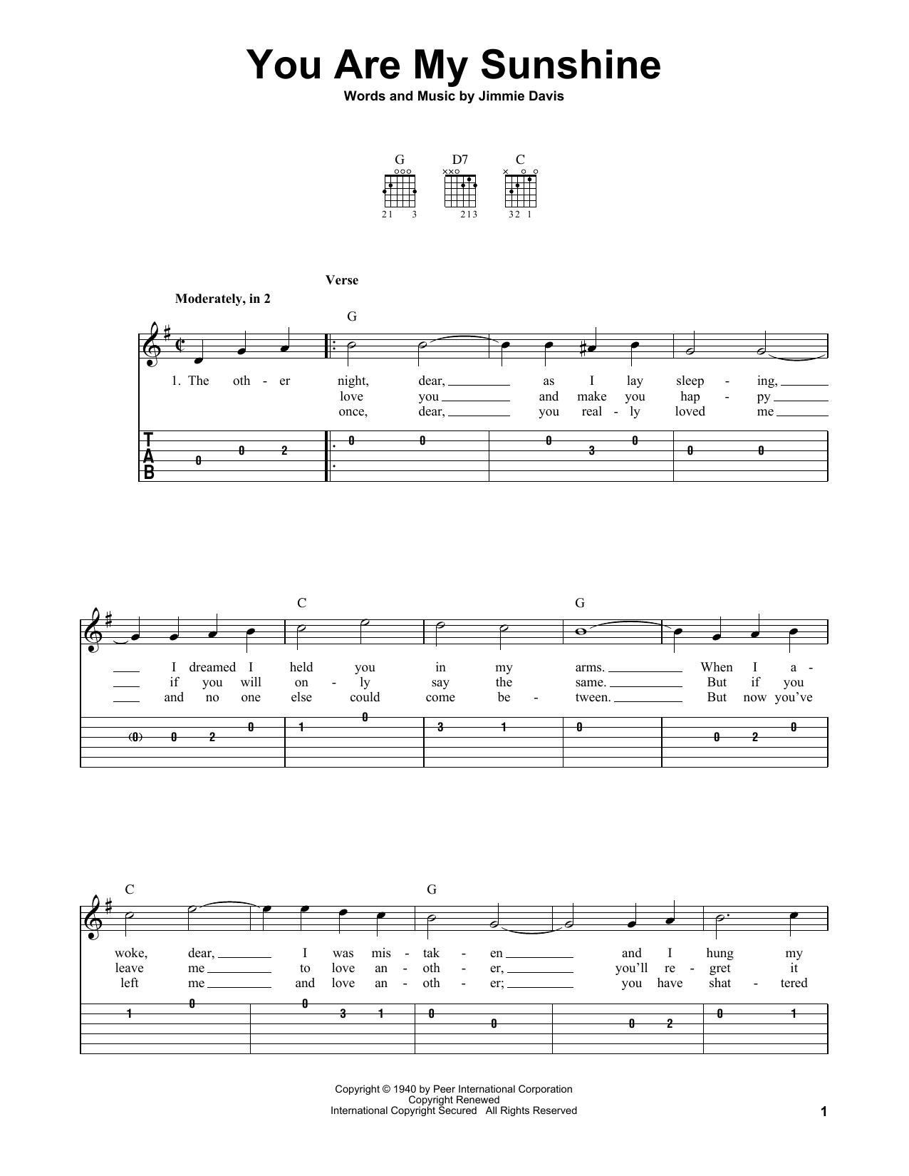 You Are My Sunshine (Easy Guitar Tab)