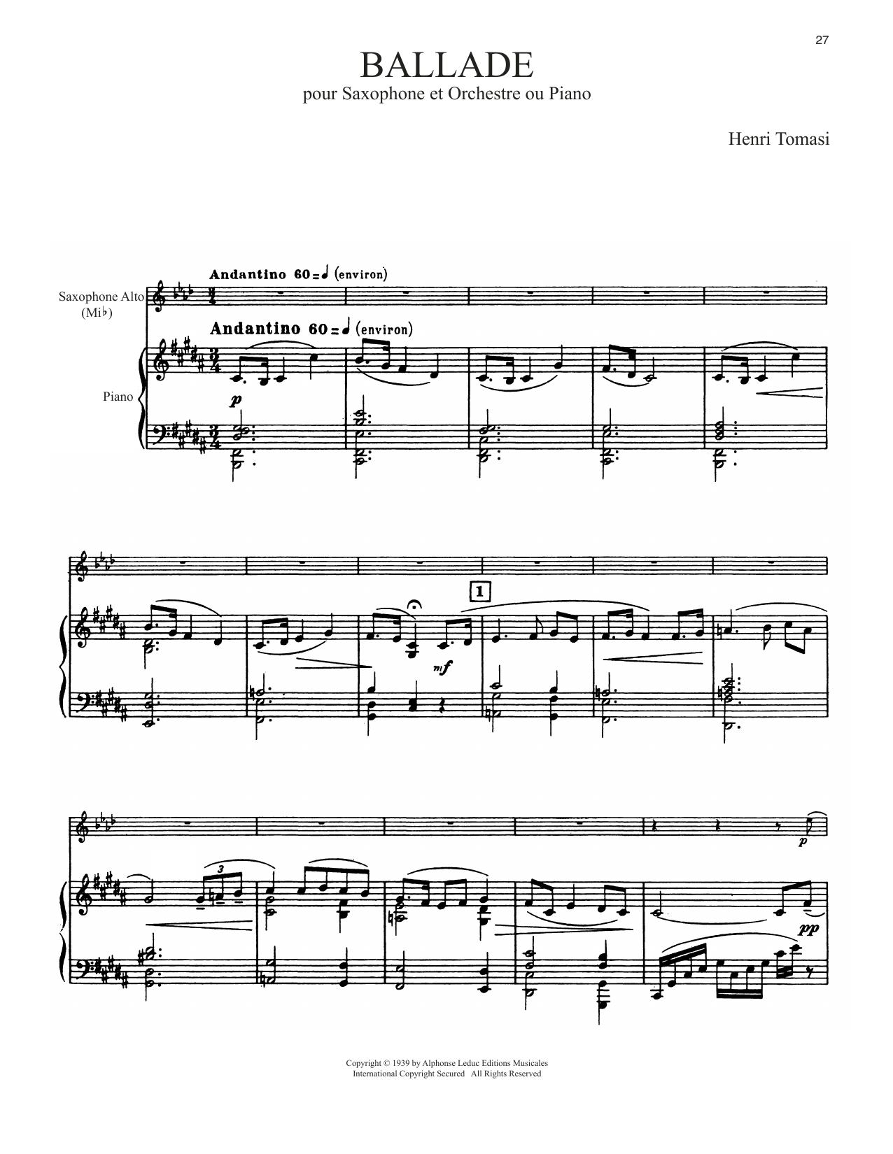 Ballade (Alto Sax and Piano)