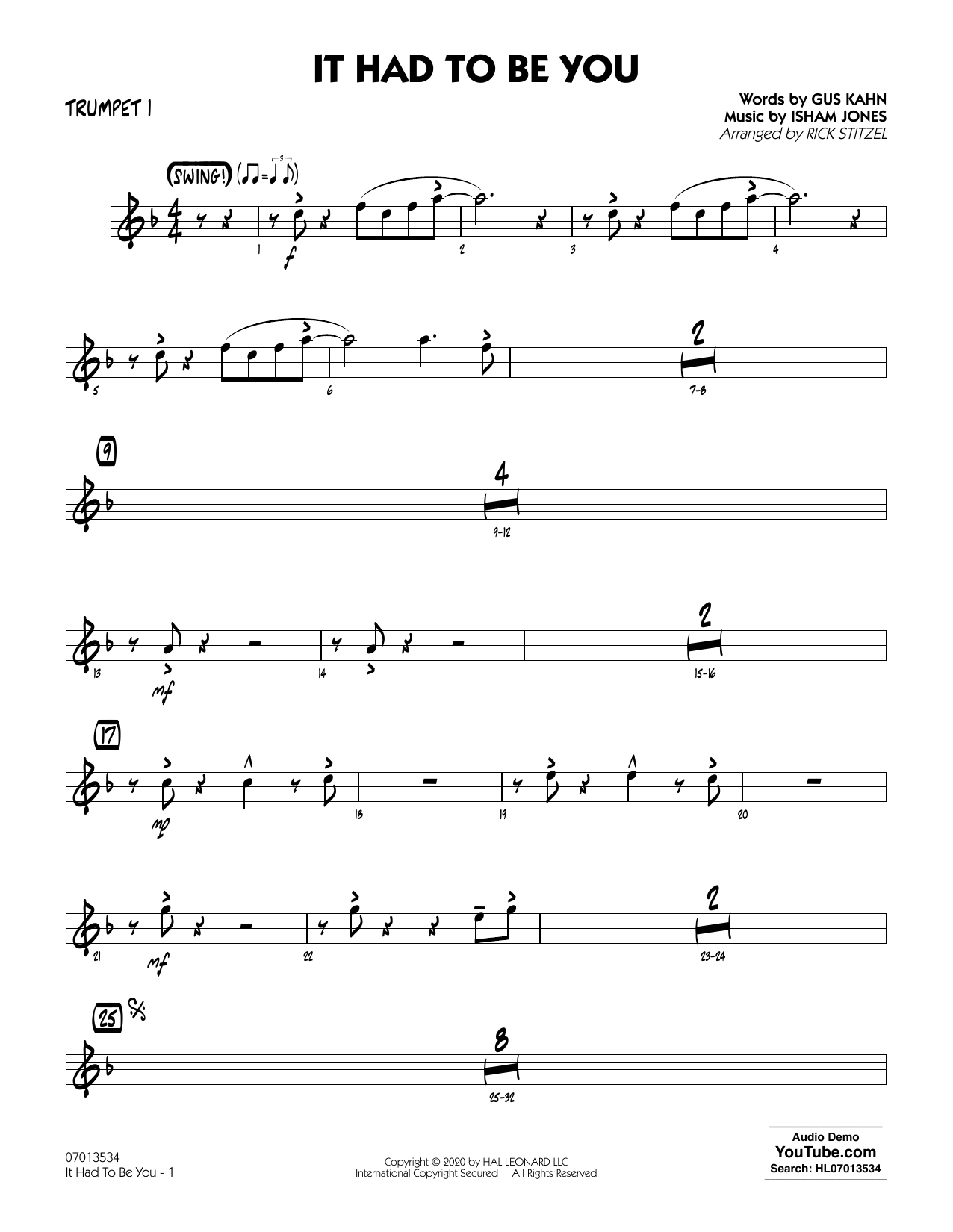 It Had to Be You (arr. Rick Stitzel) - Trumpet 1 Sheet Music