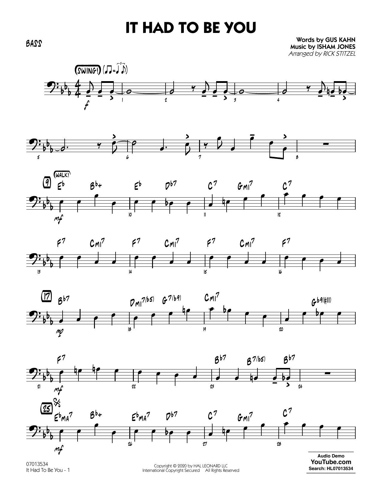 It Had to Be You (arr. Rick Stitzel) - Bass Sheet Music