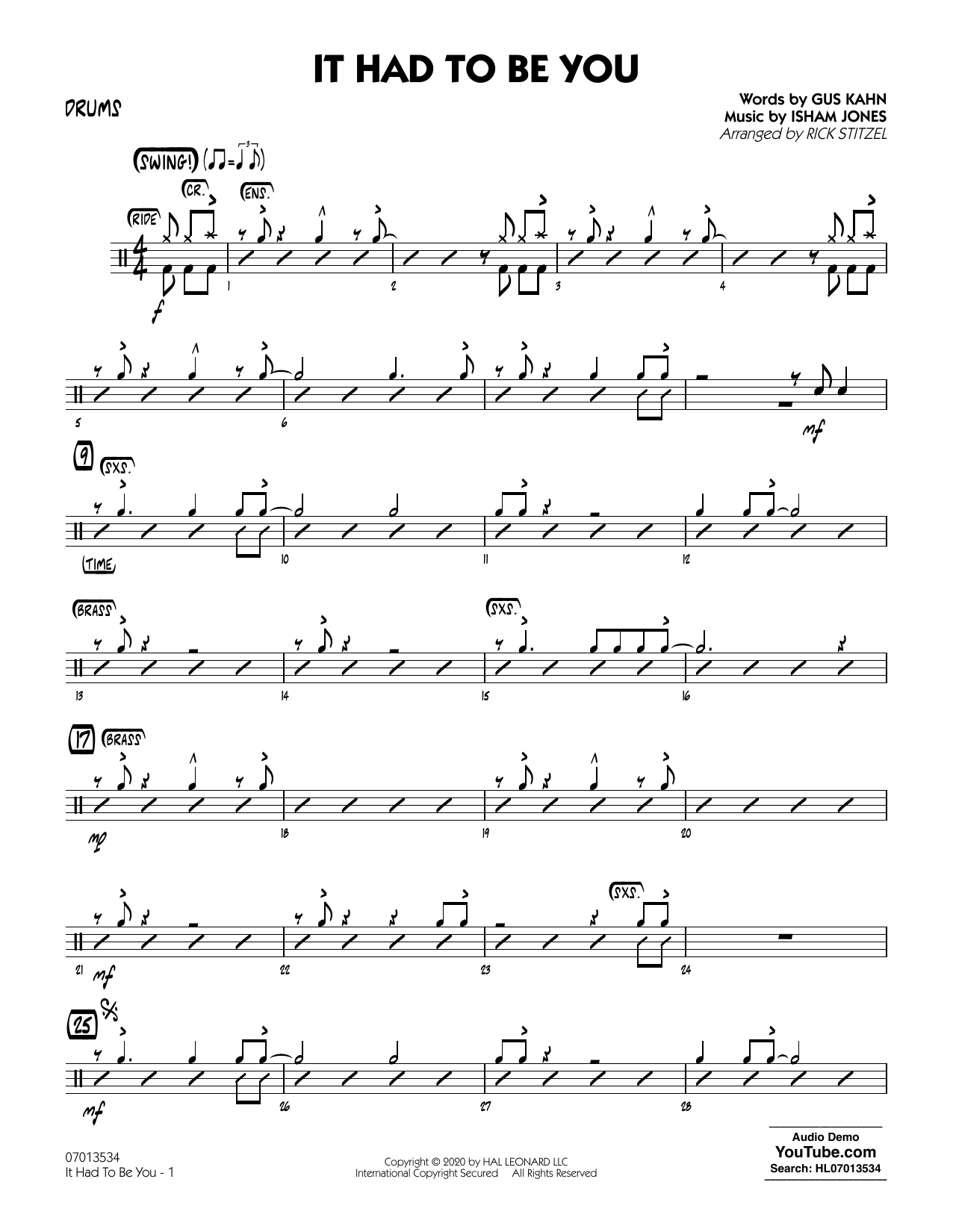 It Had to Be You (arr. Rick Stitzel) - Drums Sheet Music