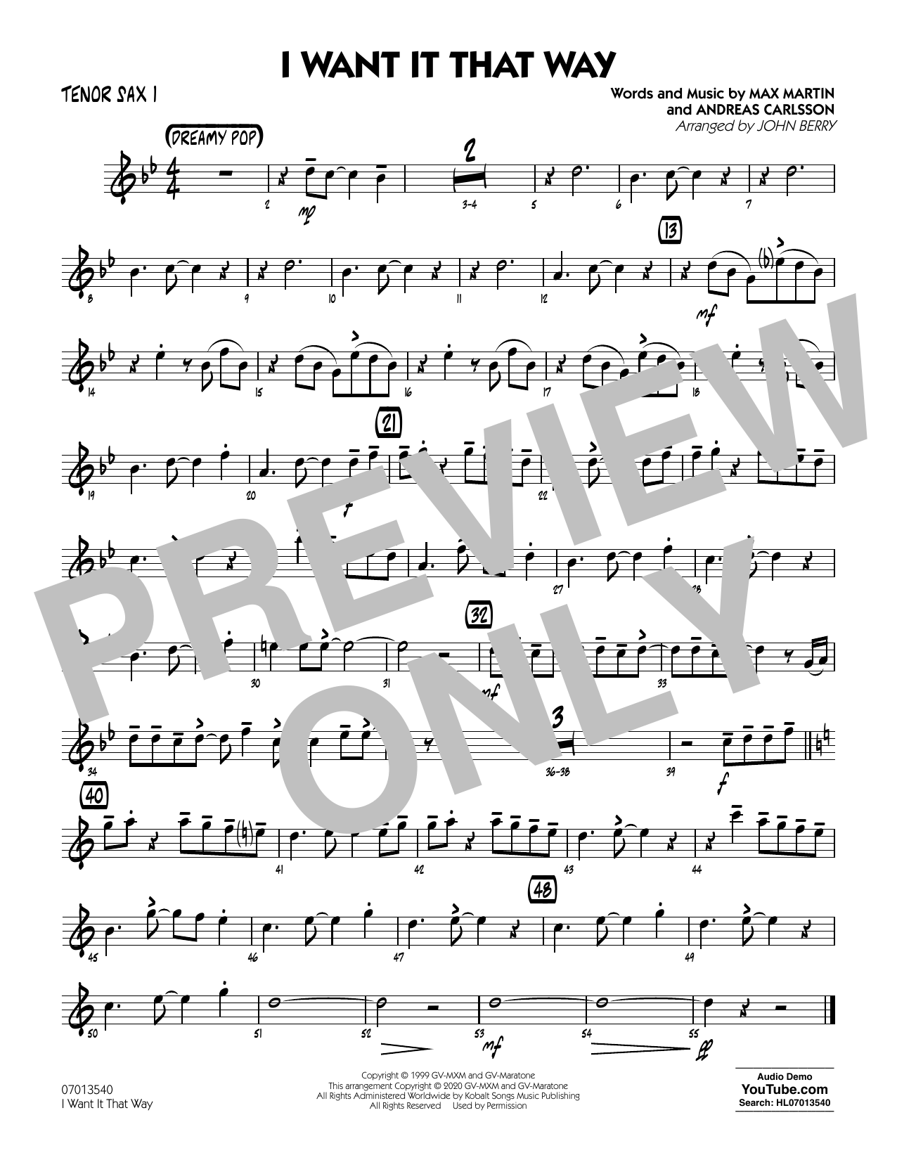 I Want It That Way (arr. John Berry) - Tenor Sax 1 Sheet Music
