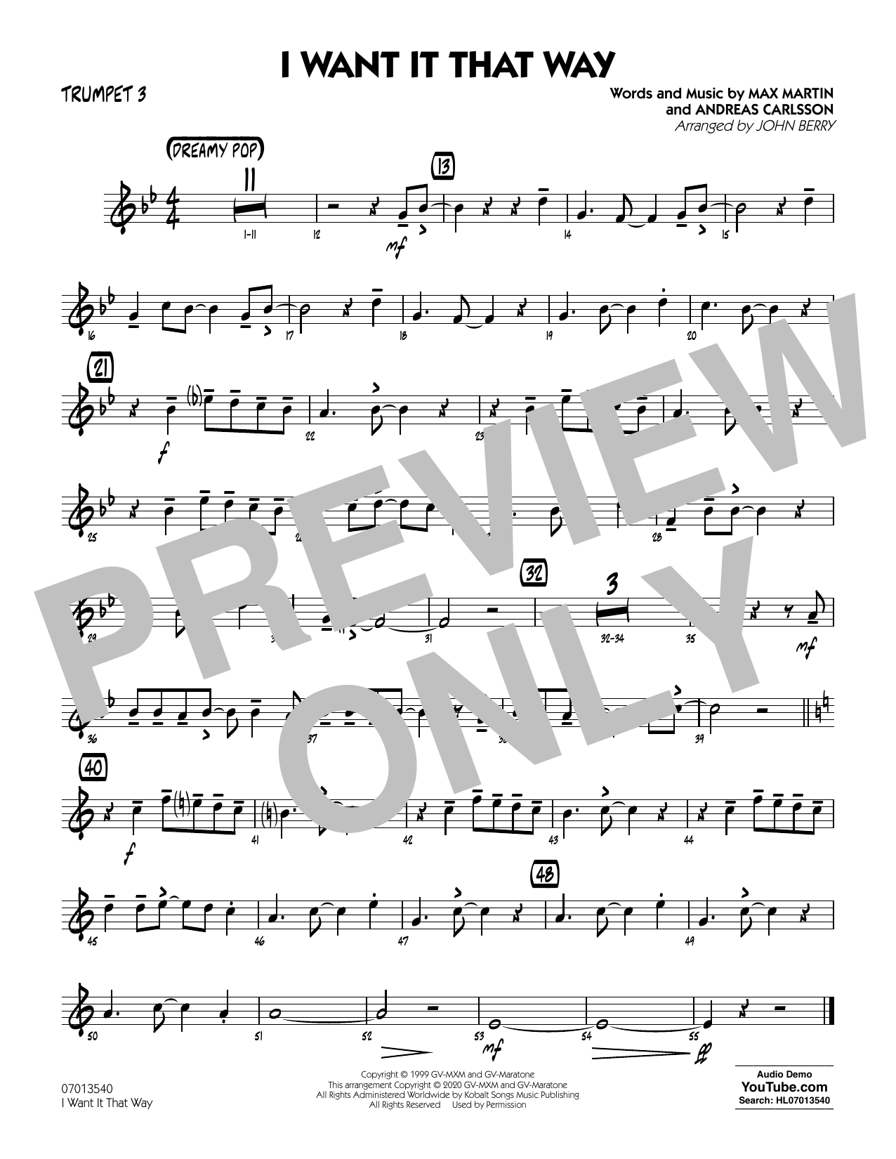 I Want It That Way (arr. John Berry) - Trumpet 3 Sheet Music