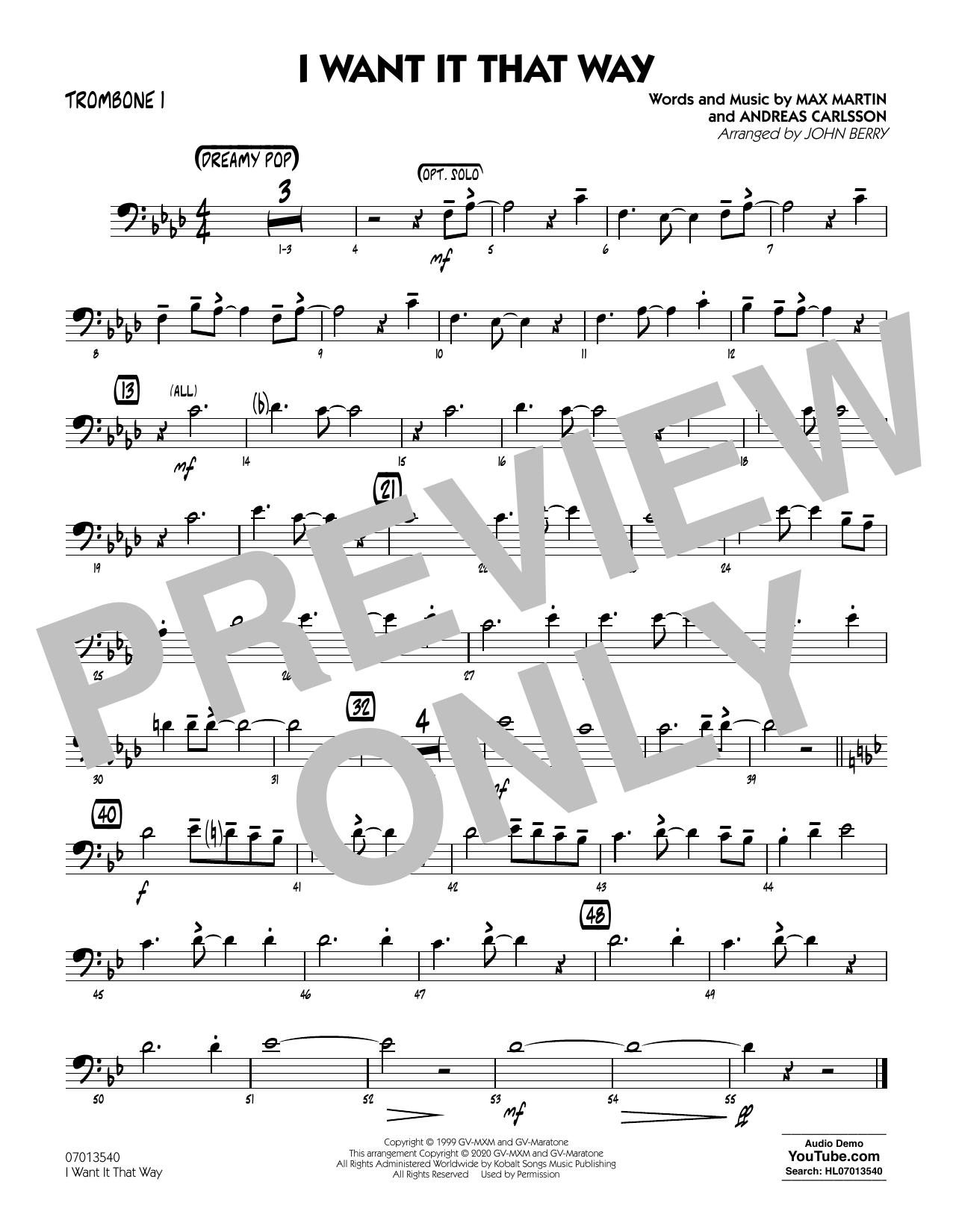 I Want It That Way (arr. John Berry) - Trombone 1 Sheet Music