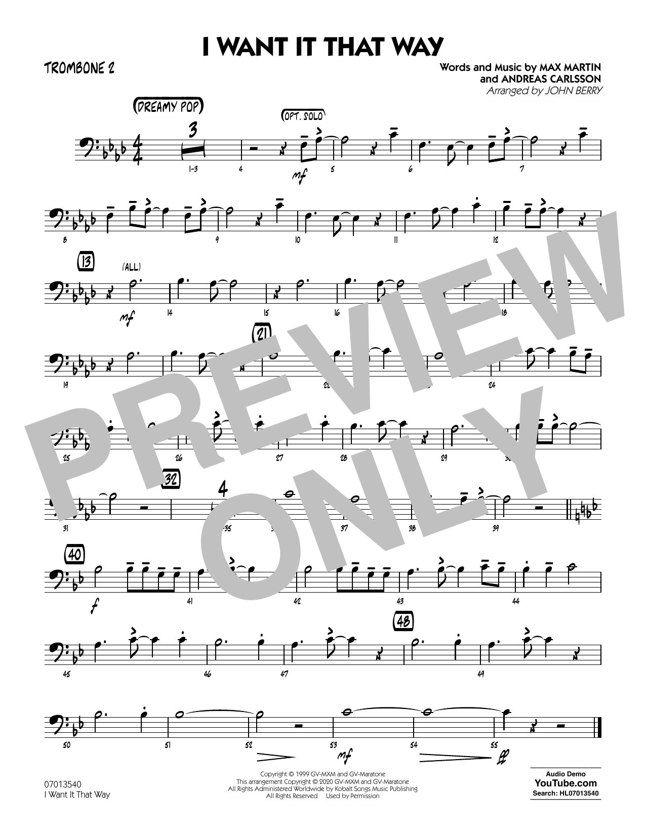 I Want It That Way (arr. John Berry) - Trombone 2 Sheet Music