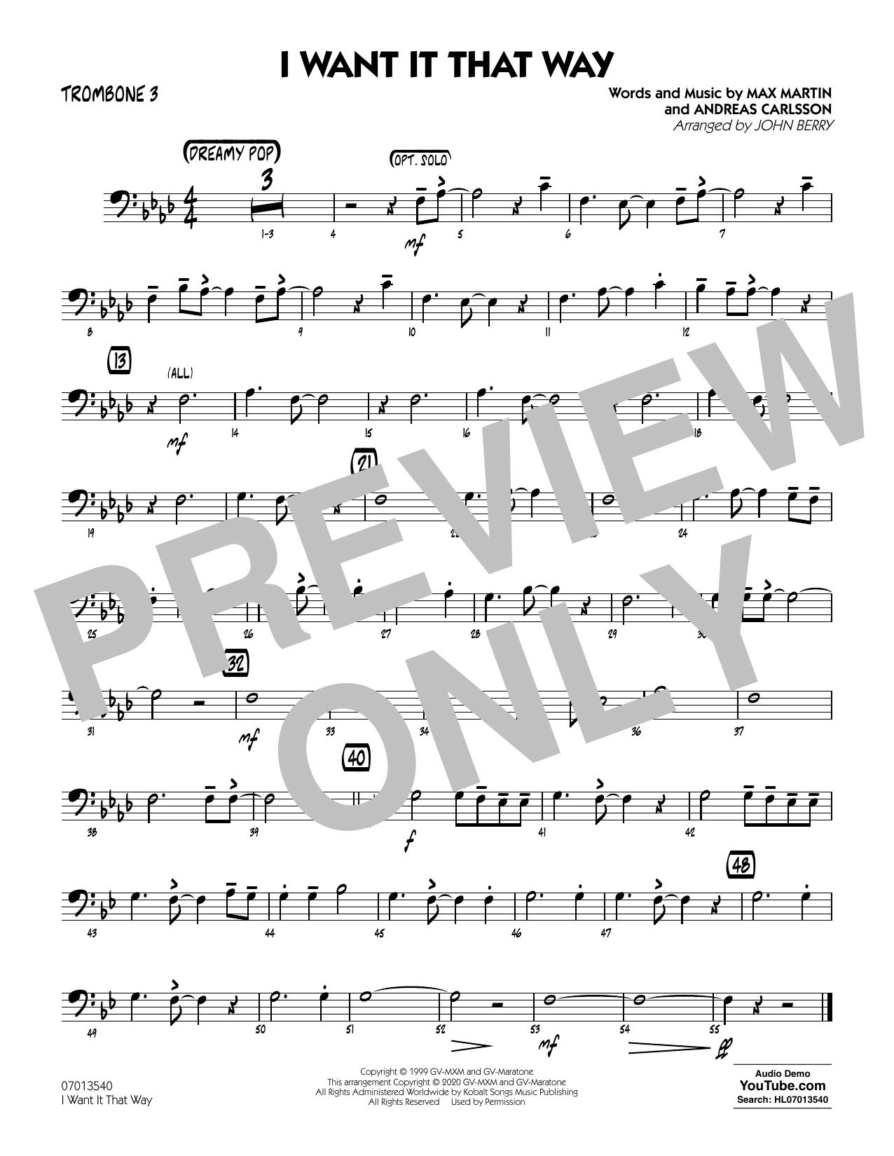 I Want It That Way (arr. John Berry) - Trombone 3 Sheet Music