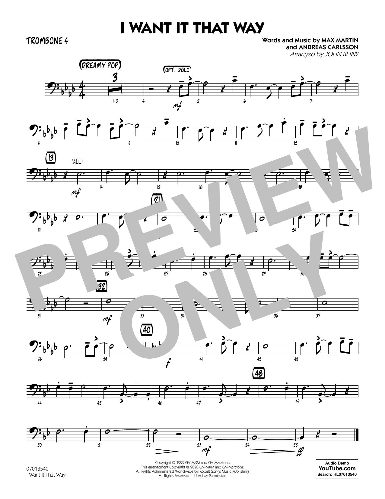 I Want It That Way (arr. John Berry) - Trombone 4 Sheet Music
