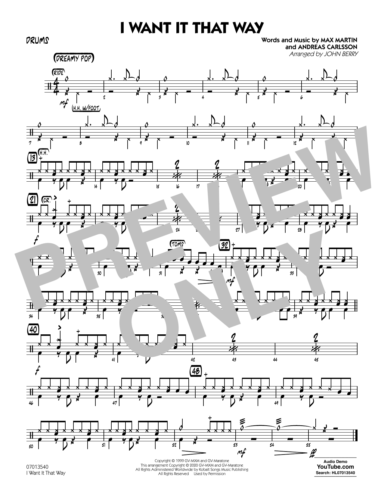 I Want It That Way (arr. John Berry) - Drums Sheet Music
