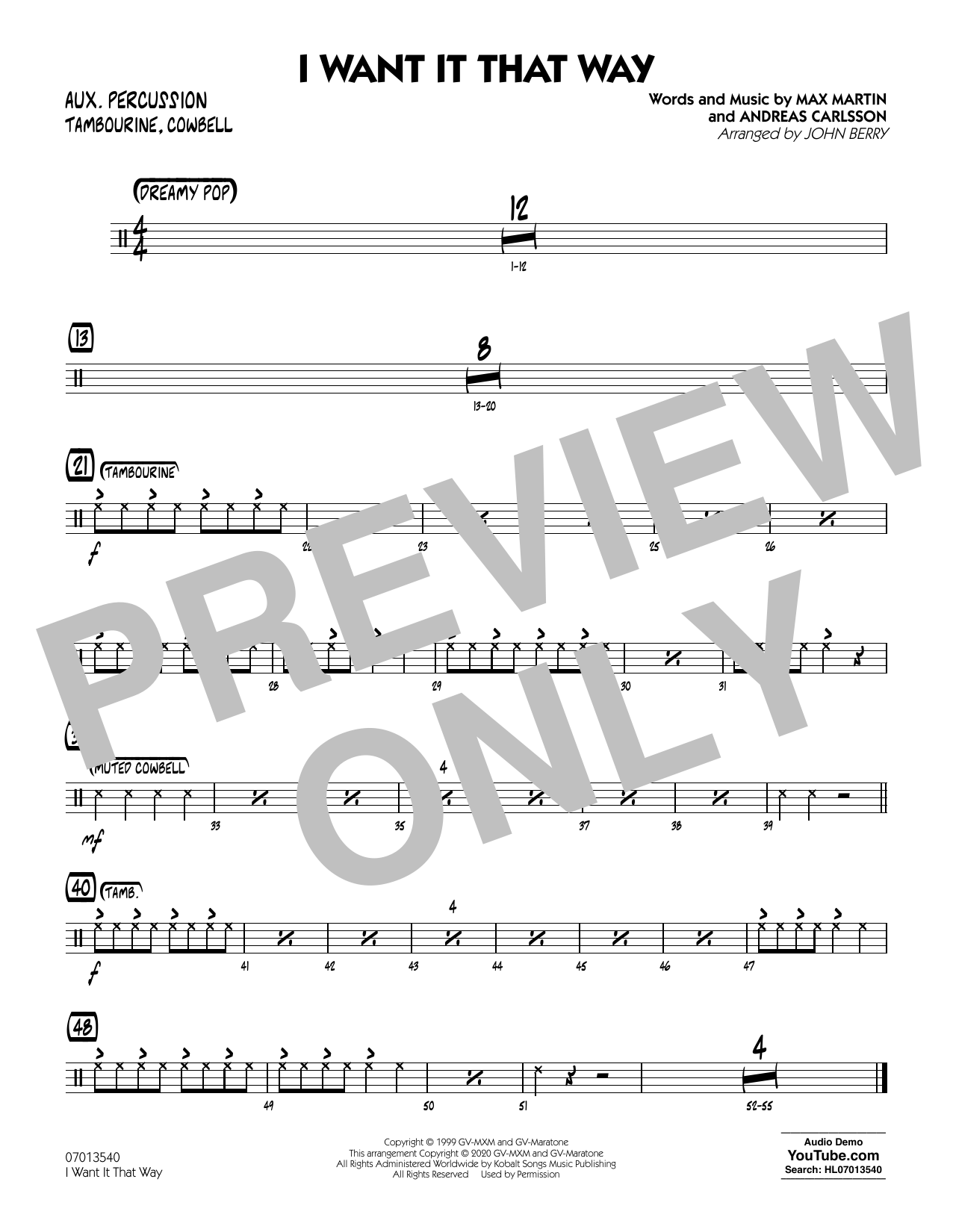 I Want It That Way (arr. John Berry) - Aux Percussion Sheet Music