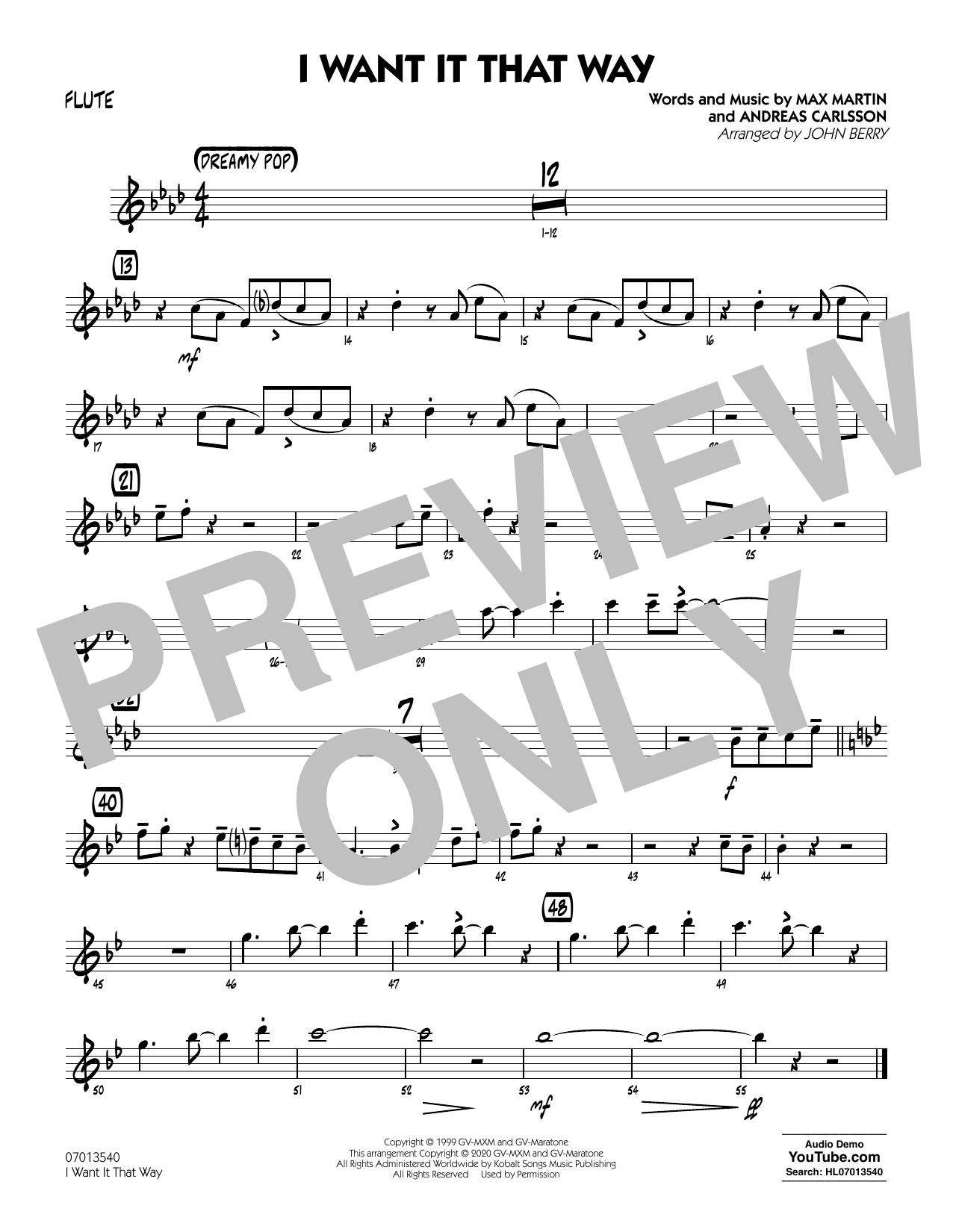 I Want It That Way (arr. John Berry) - Flute Sheet Music