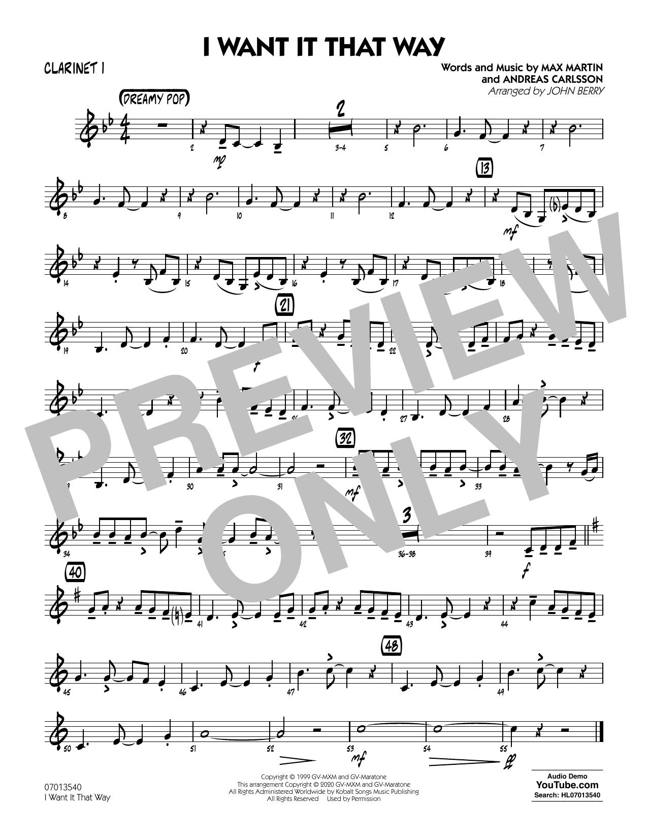 I Want It That Way (arr. John Berry) - Clarinet 1 Sheet Music