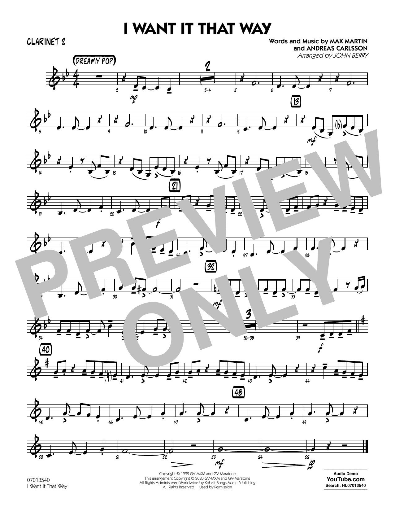 I Want It That Way (arr. John Berry) - Clarinet 2 Sheet Music