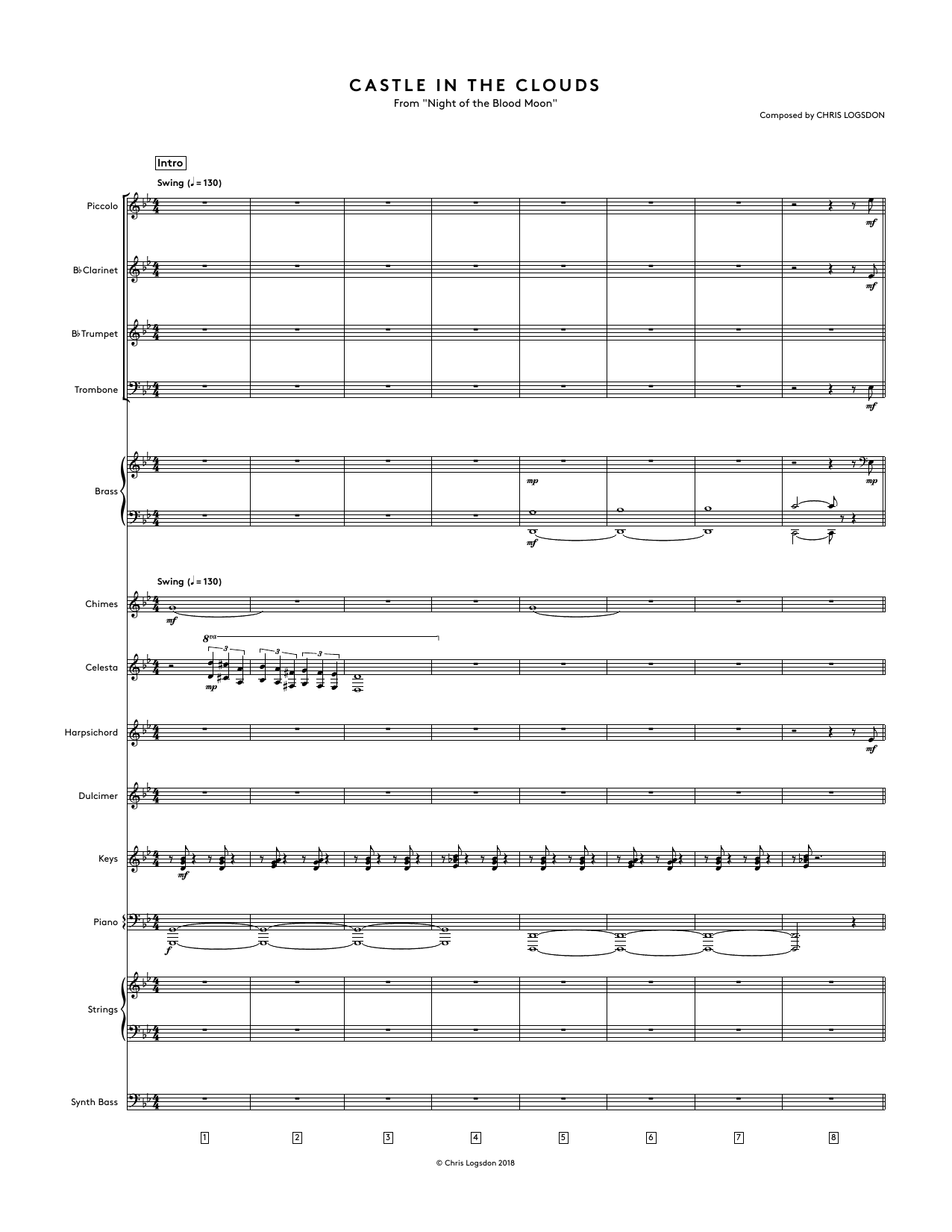 Castle In The Clouds (from Night of the Blood Moon) - Full Score Sheet Music