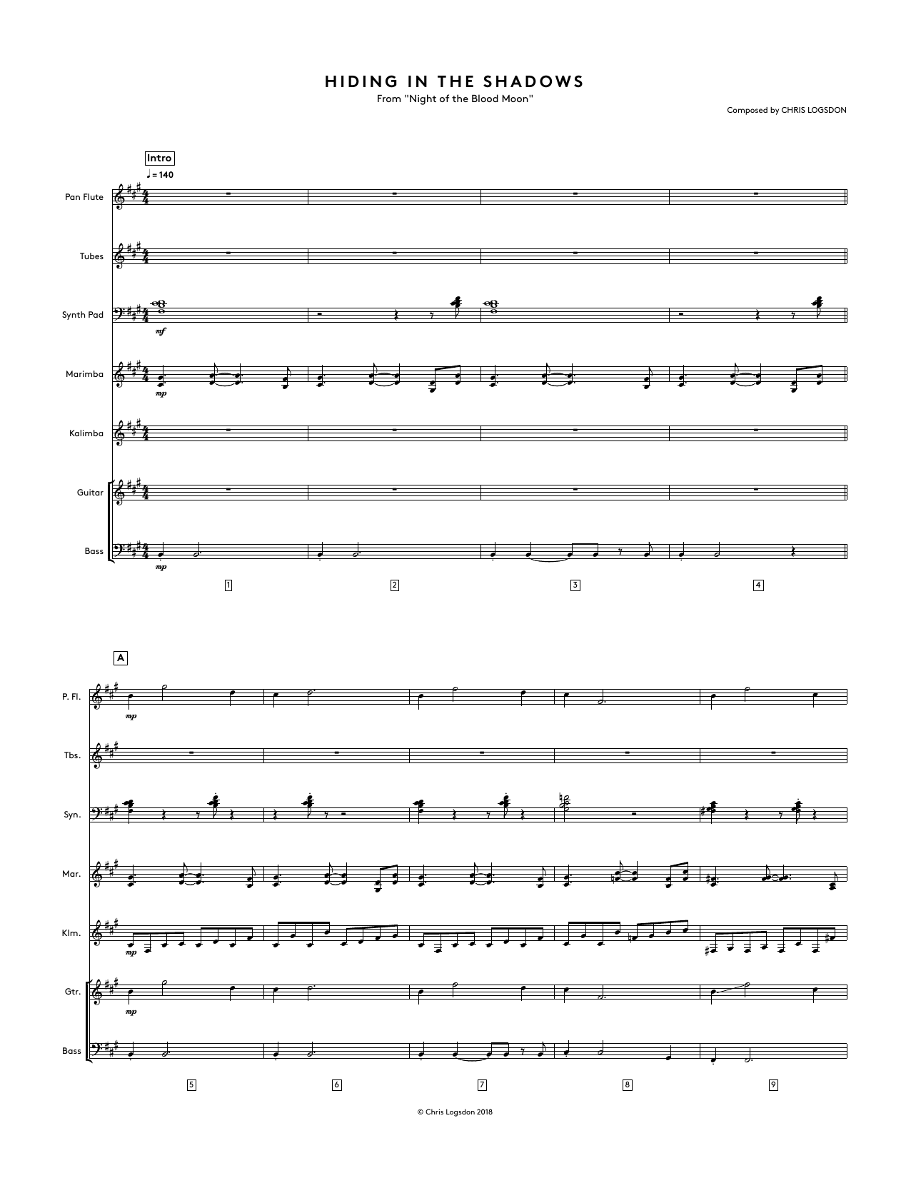 Hiding In The Shadows (from Night of the Blood Moon) - Full Score Sheet Music