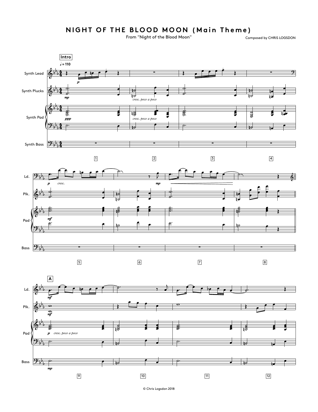 Night of the Blood Moon (Main Theme) (from Night of the Blood Moon) - Full Score Sheet Music